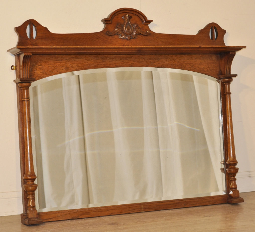 Attractive Antique Victorian Carved Oak Overmantle Bevelled Arch With Wooden Overmantle Mirror (View 9 of 15)