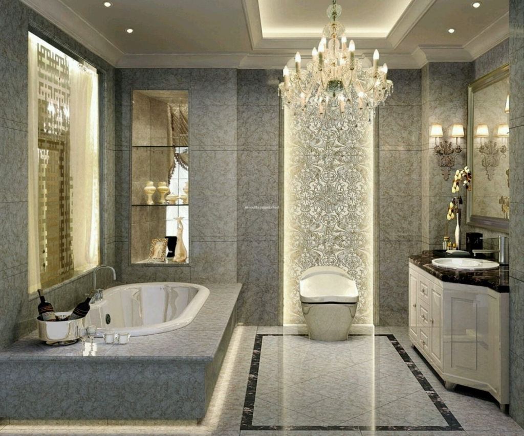 Attractive Bathroom Crystal Chandelier Amazing Luxury Bathroom Throughout Chandelier In The Bathroom (Image 11 of 15)