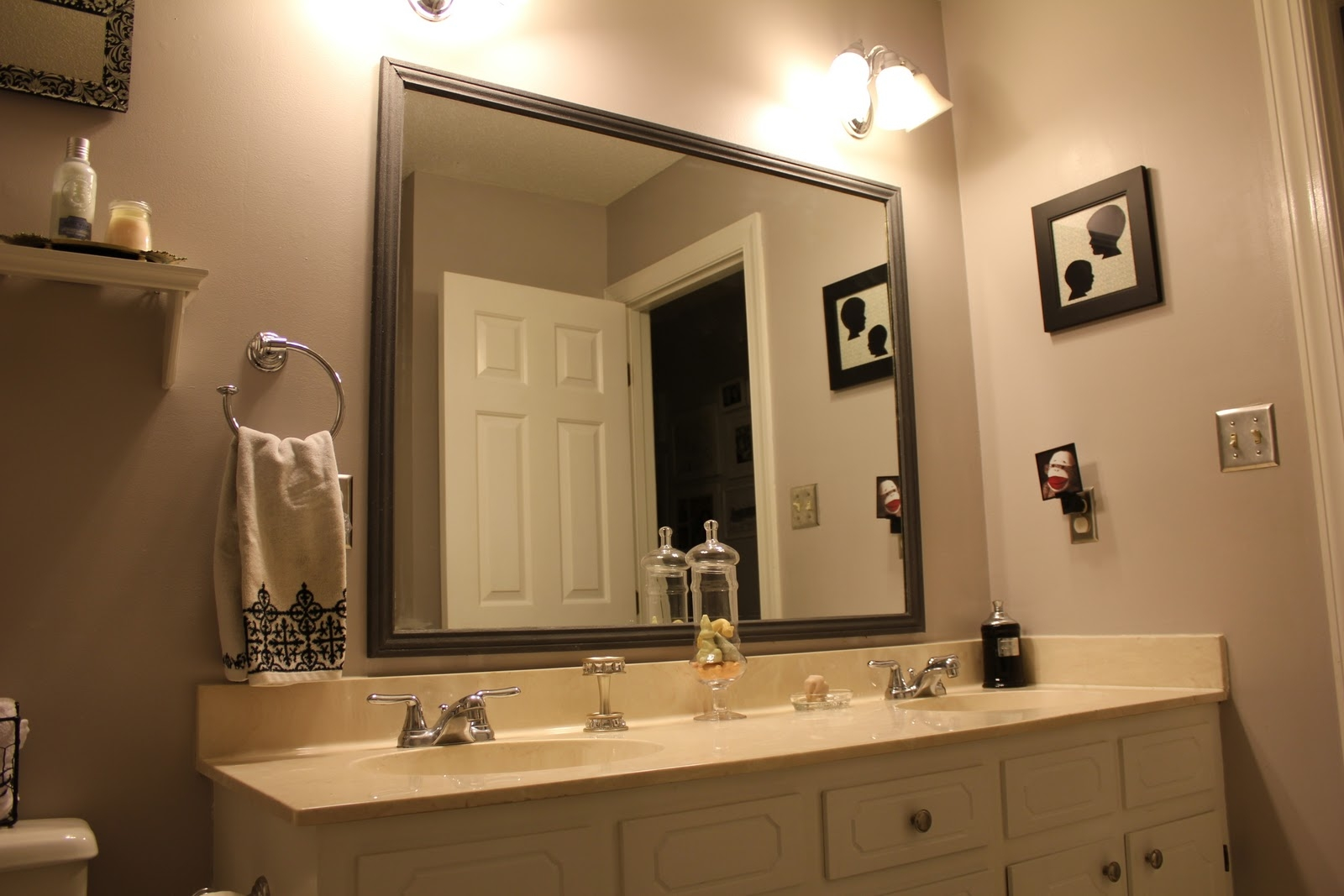 Attractive Bathroom Mirrors Framed Large Framed Mirror For In Large Brown Mirror (Image 1 of 15)