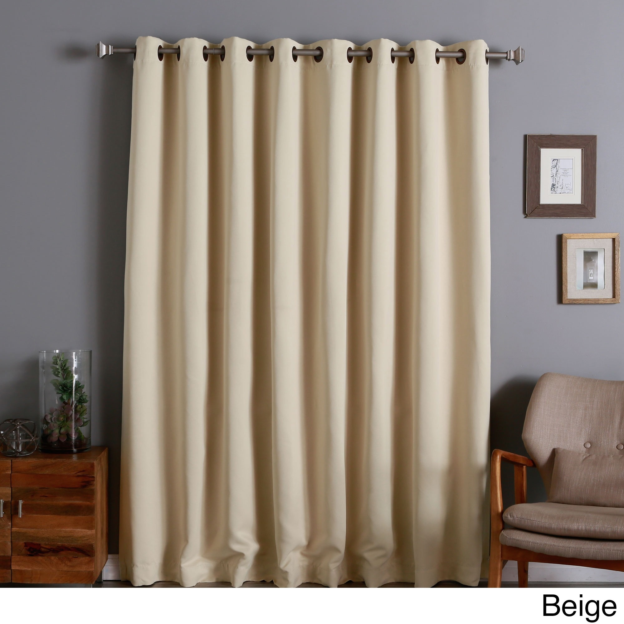 Aurora Home Extra Wide Thermal 96 Inch Blackout Curtain Panel Throughout Extra Long Blackout Curtains (Image 2 of 15)