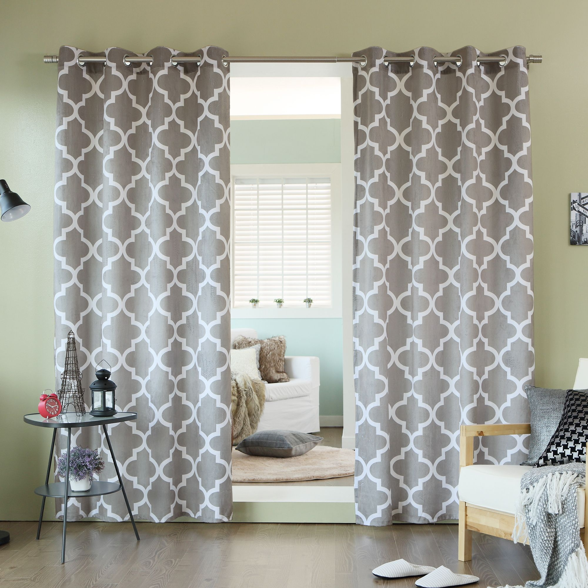 Aurora Home Velvet Moroccan Print Grommet Top 84 Inch Curtain Within Moroccan Print Curtains (Image 4 of 15)