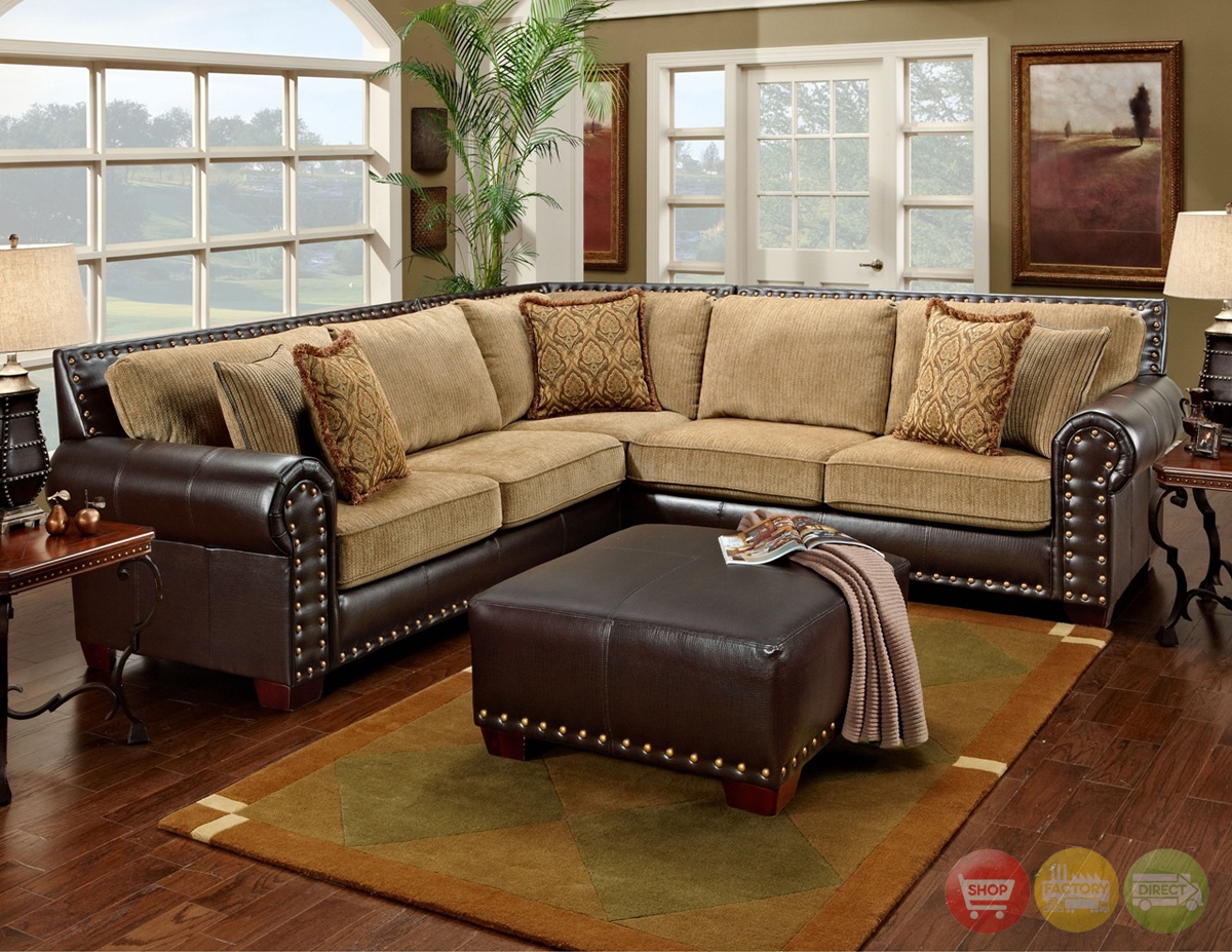 Awesome Traditional Brown And Tan Sectional Sofa With Nailhead Inside Chenille And Leather Sectional Sofa (Image 2 of 15)