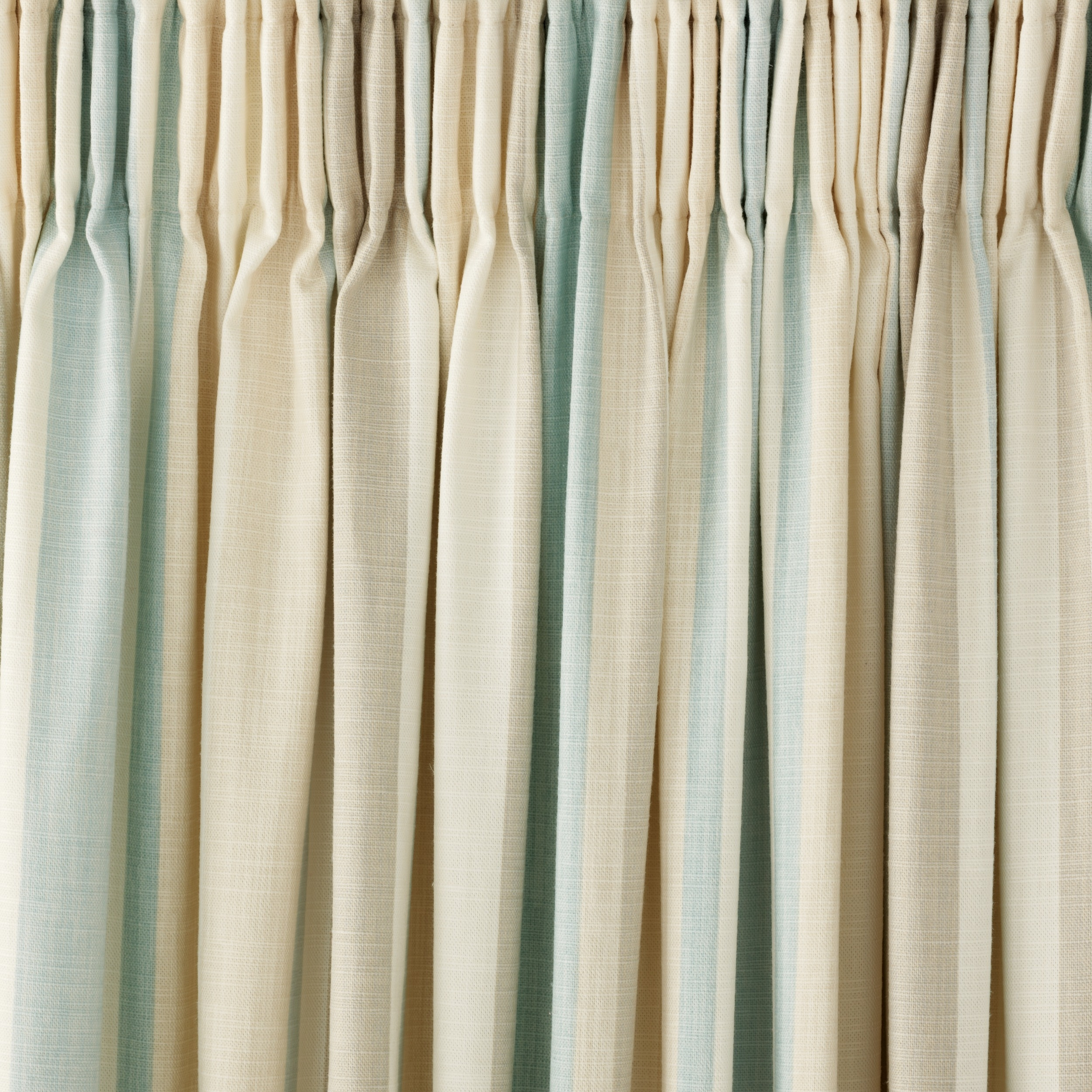 Awning Stripe Duck Egg Cotton Pencil Pleat Ready Made Curtains In Duck Egg Blue Striped Curtains (View 9 of 15)