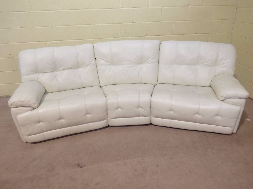 Axis 4 Seater Curved Electric Reclining Sofa 100 Leather In With Curved Recliner Sofa (Image 2 of 15)