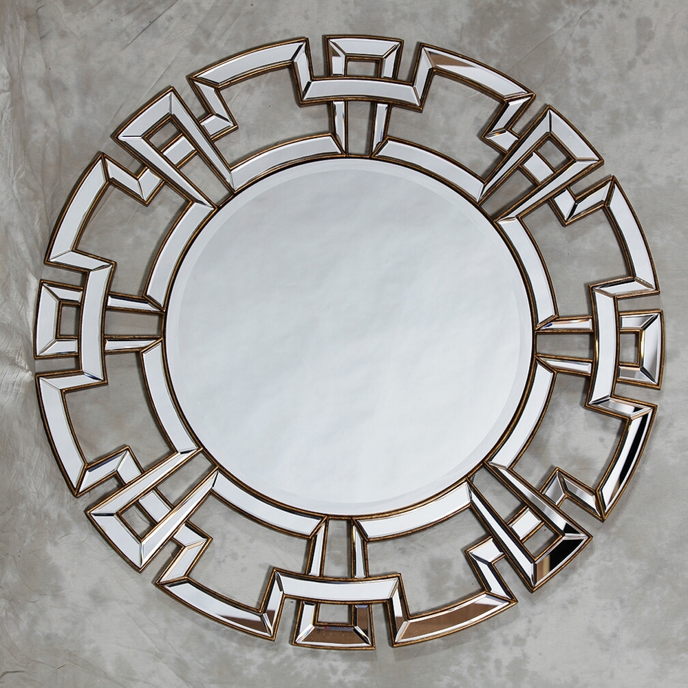 Aztec Design Deep Gold Large Round Wall Mirror 120 X 120 Cm In Round Venetian Mirror (View 11 of 15)