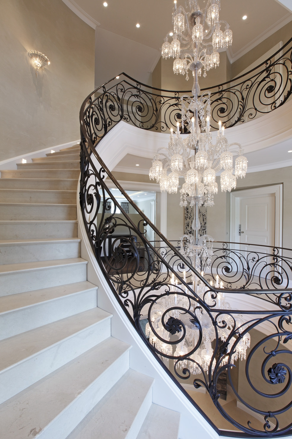 Baccarat Chandelier Villa Privestunning Wrought Iron Stair Inside Stairway Chandelier (Image 5 of 15)