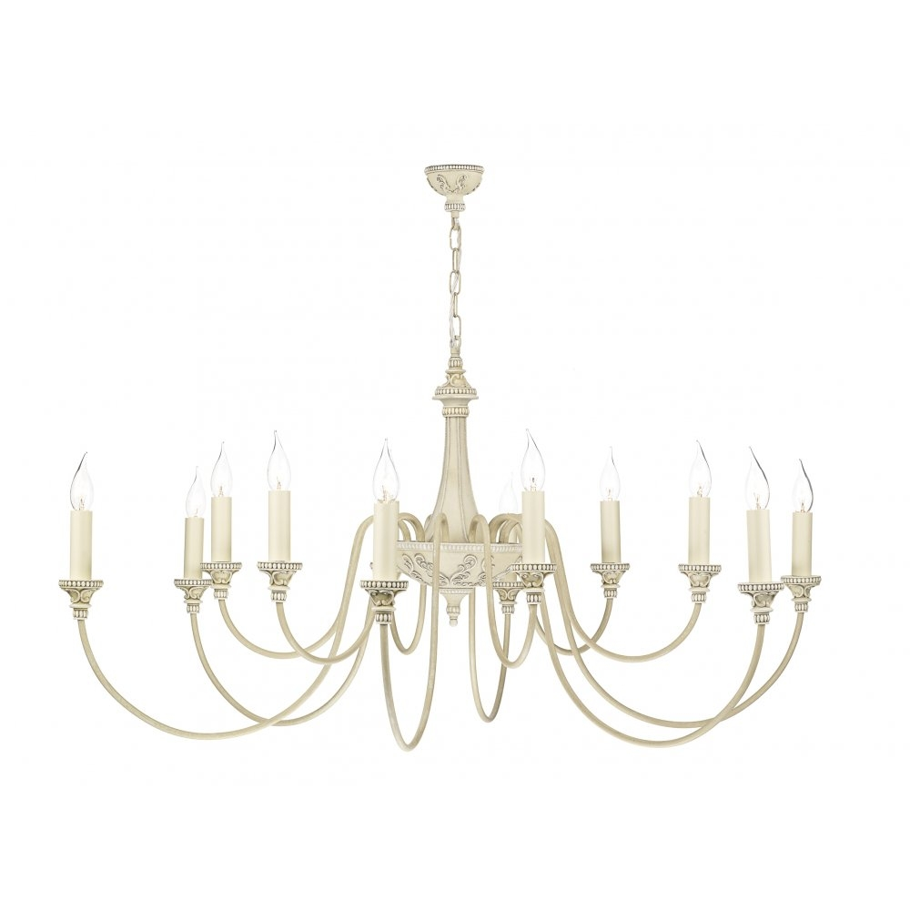 Bai1245 Bailey Chandelier David Hunt 12 Light Cream Pendant Regarding Cream Chandelier Lights (Image 4 of 15)