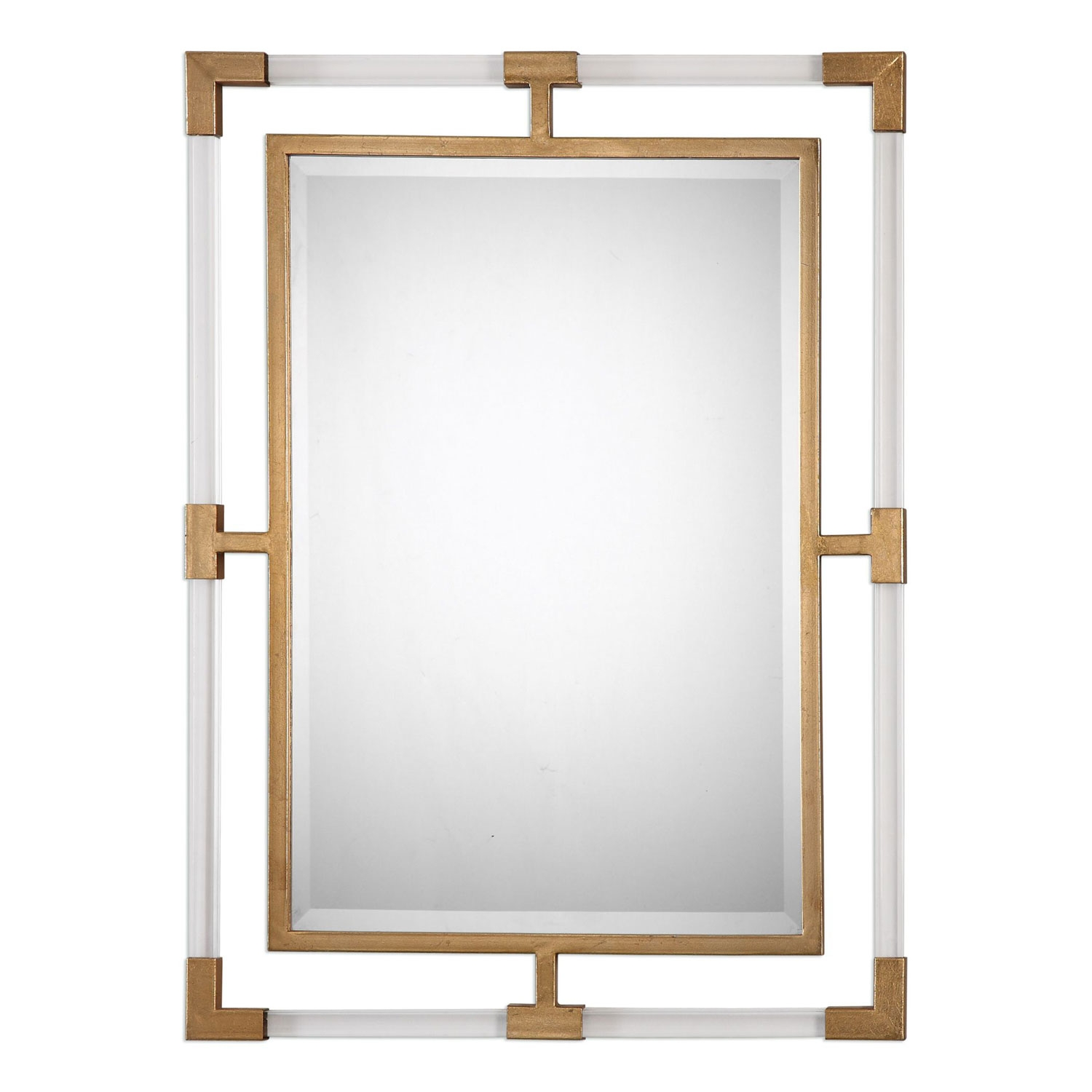 Balkan Modern Gold Wall Mirror Uttermost Rectangle Mirrors Home Decor Within Modern Gold Mirror (Image 2 of 15)