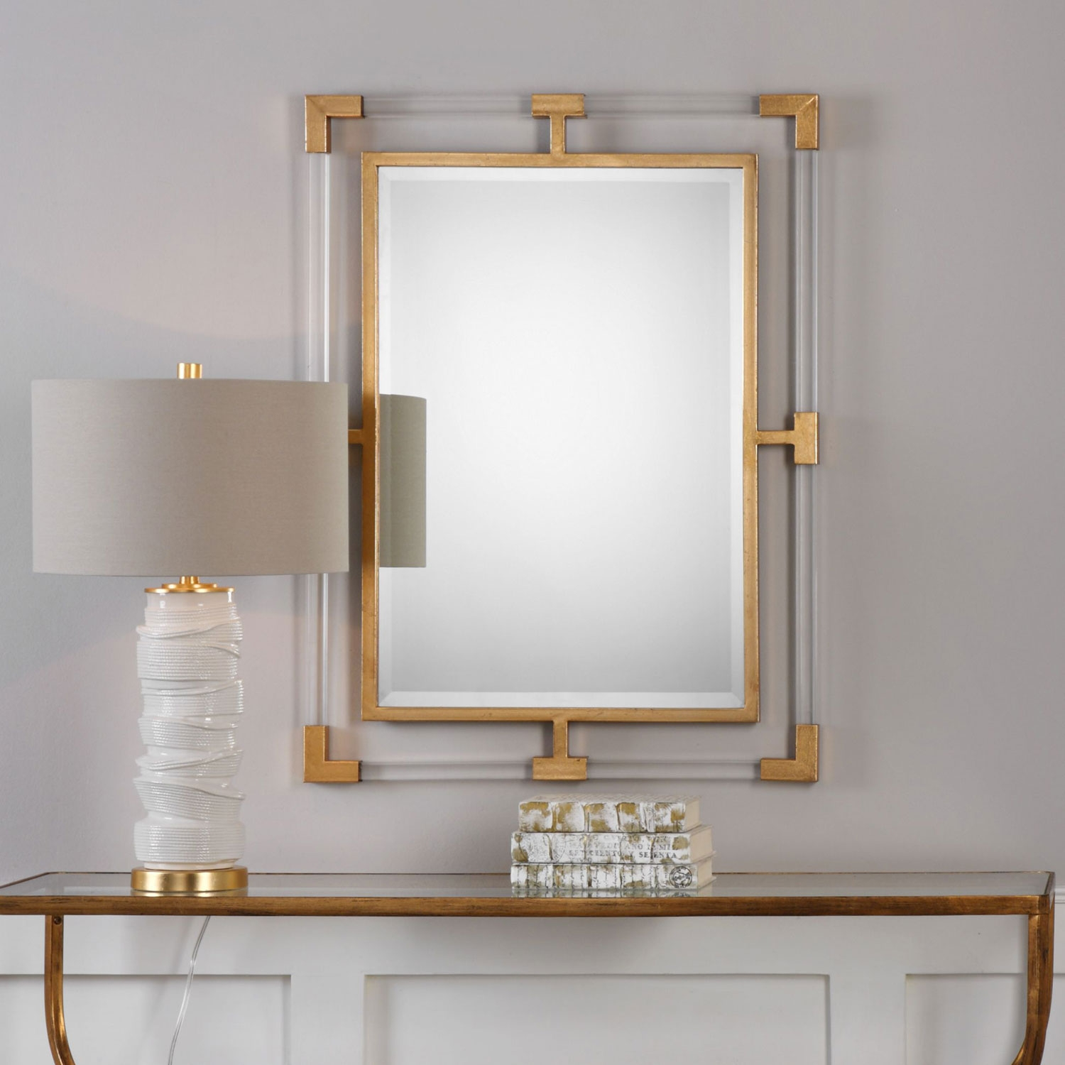 Balkan Modern Gold Wall Mirror Uttermost Rectangle Mirrors Home Decor Within Modern Gold Mirror (Image 3 of 15)
