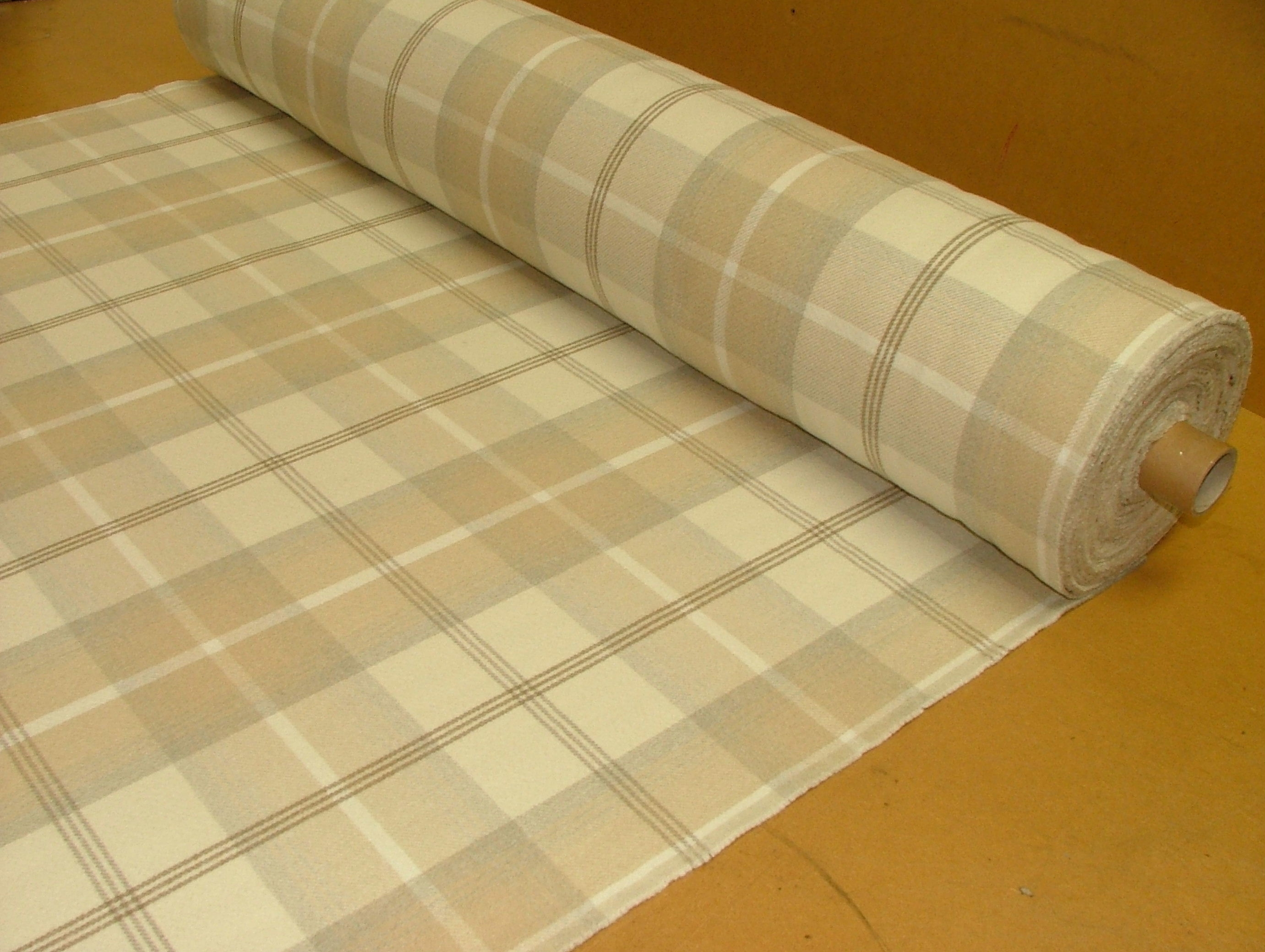 Balmoral Natural Cream Wool Effect Washable Thick Tartan Plaid Inside Natural Fabric Curtain (Image 3 of 15)