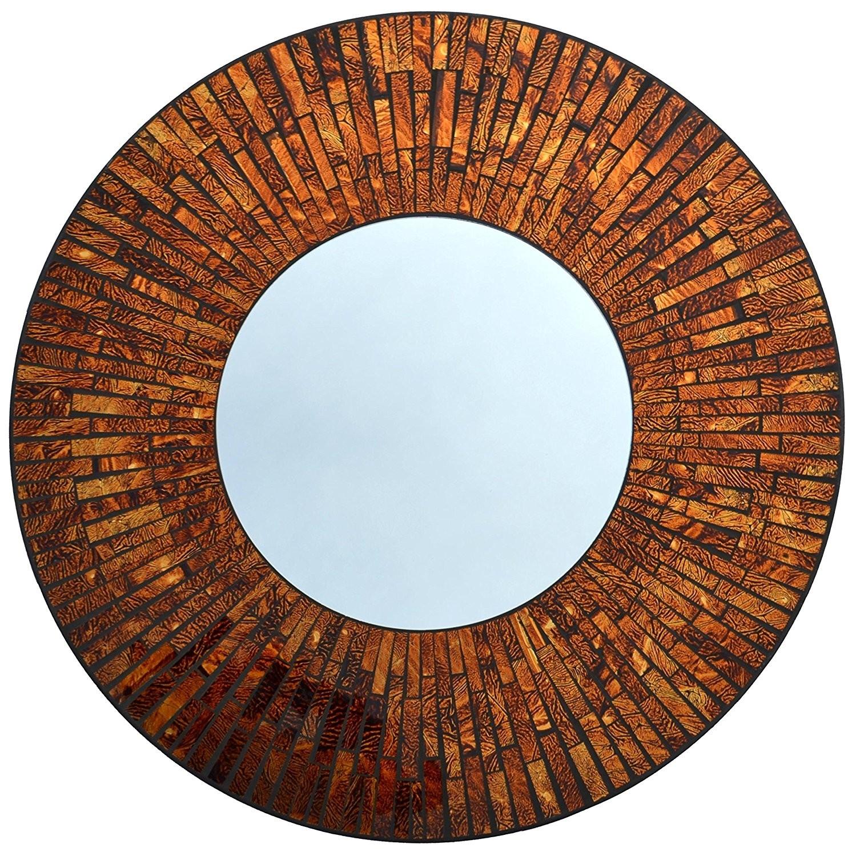 Baltic Amber Round Mosaic Wall Mirror Wall Mirror Pertaining To Round Mosaic Wall Mirror (Image 1 of 15)