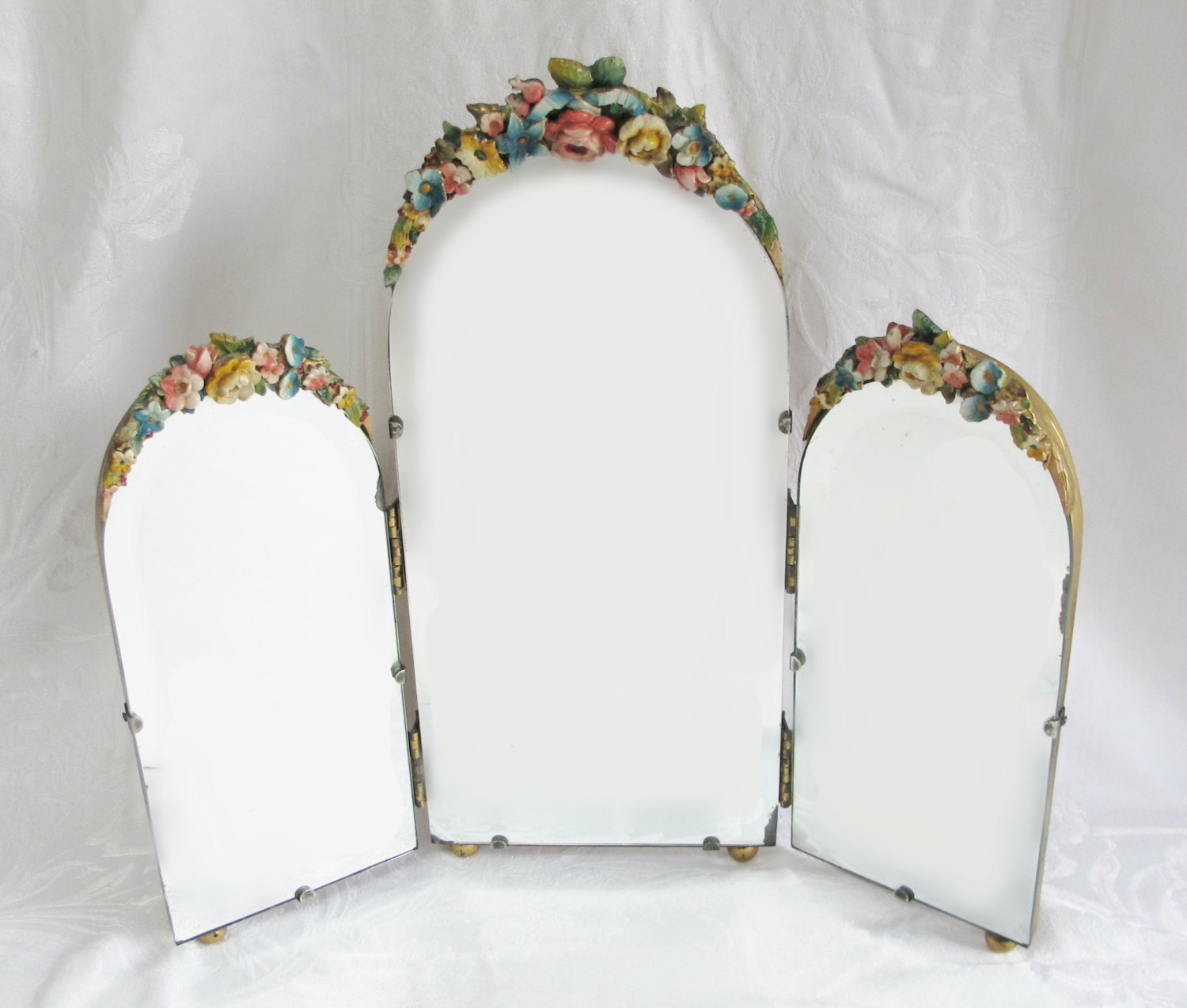 Barbola Mirror Antique English Country Cabbage Rose Dressing Regarding Antique Triple Mirror (Image 7 of 15)