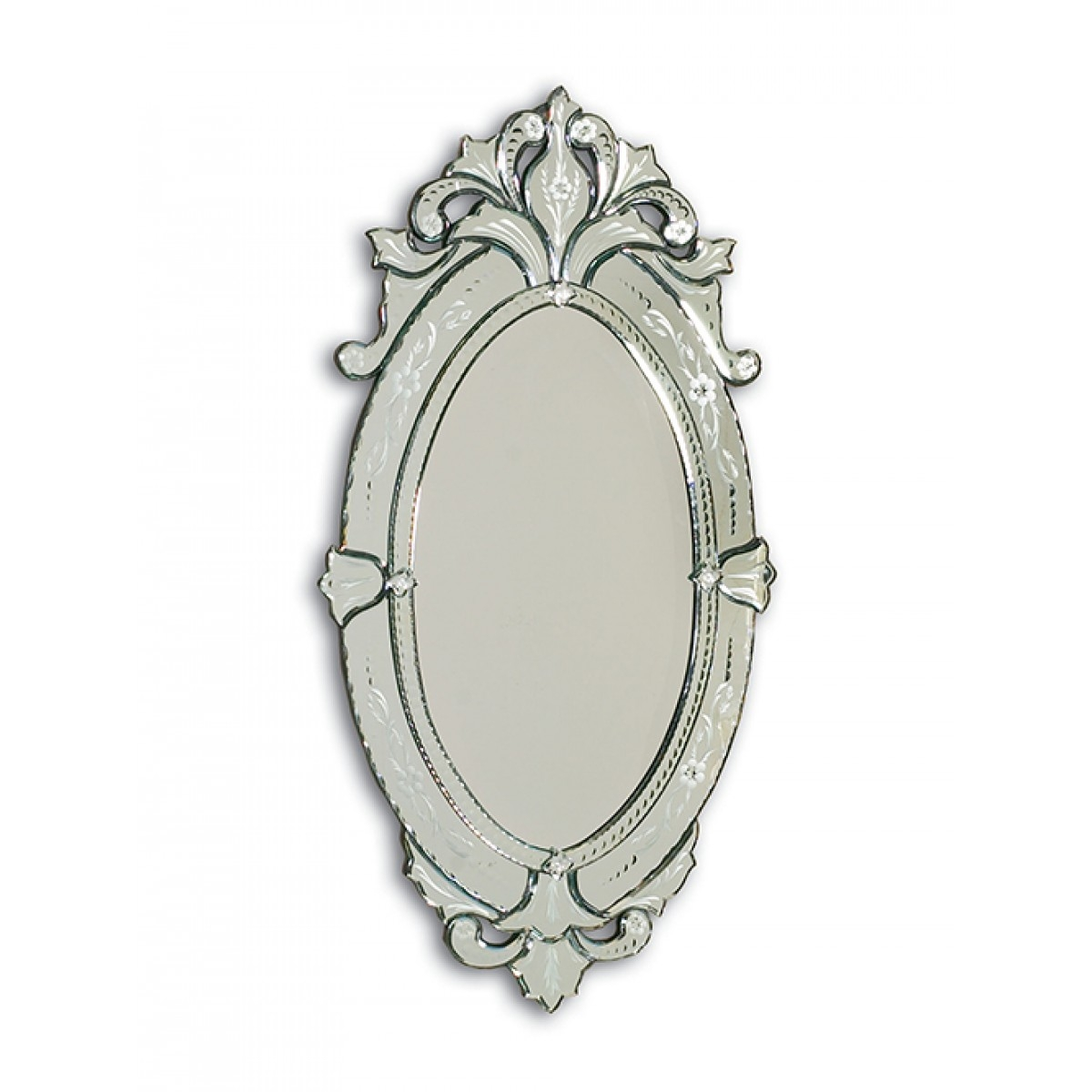 Barge Hand Cut And Etched Oval Venetian Glass Mirror Frame Regarding Venetian Etched Glass Mirror (Image 3 of 15)