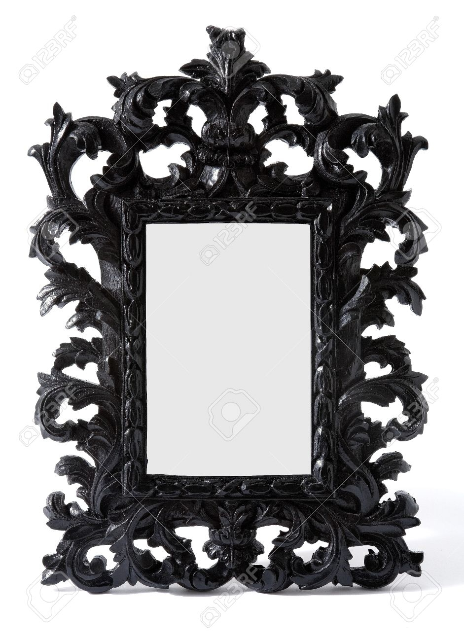 Baroque Black Painted Carved Wood Mirror Frame Isolated On White Regarding Black Baroque Mirror (Image 3 of 15)