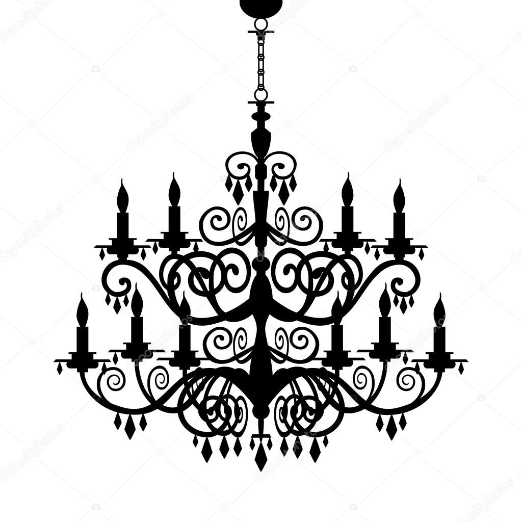 Baroque Chandelier Silhouette Stock Vector Elakwasniewski 5427644 Throughout Baroque Chandelier (Image 6 of 15)