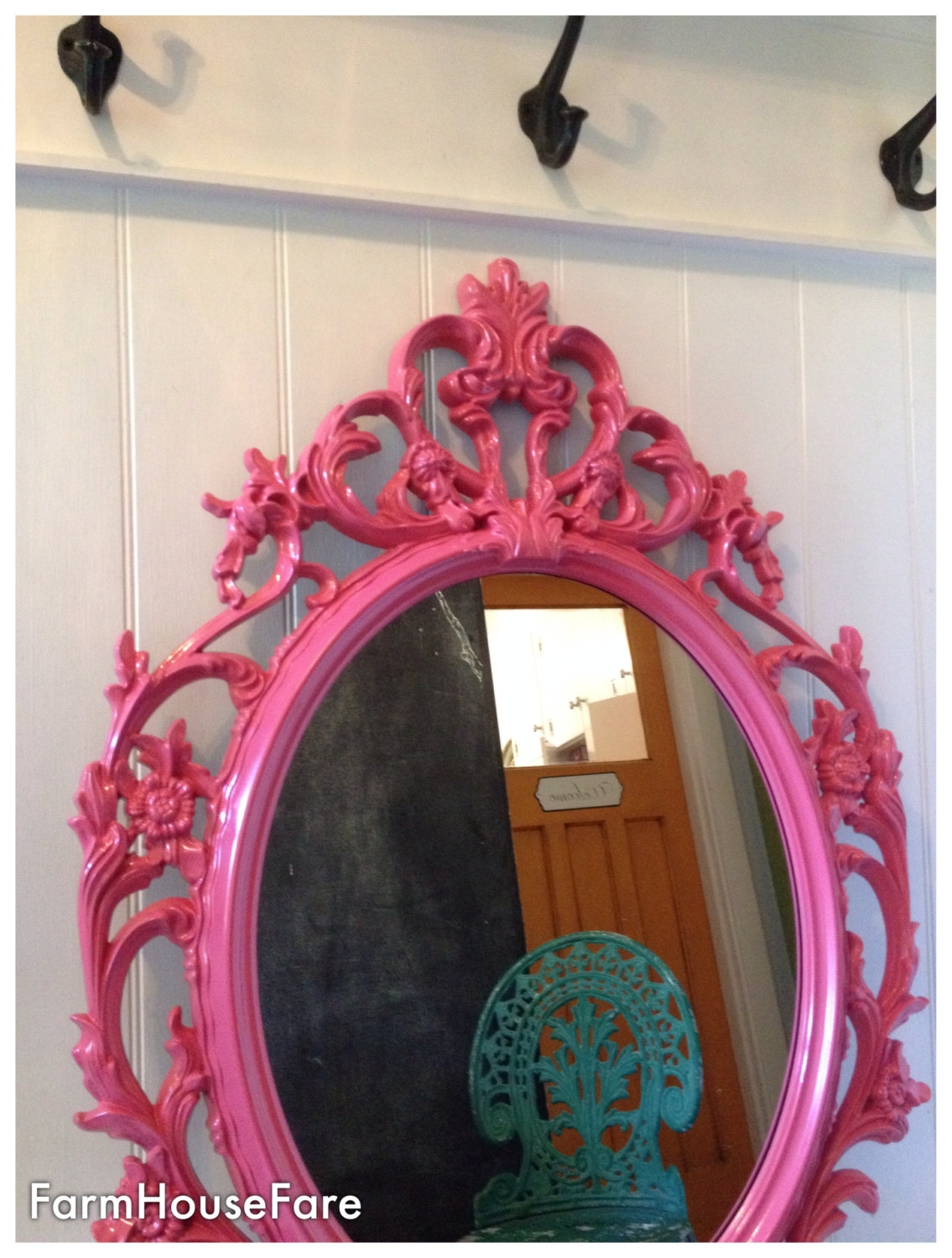 Baroque Mirror Shab Chic Mirror Bathroom Vanity Mirror Ornate Throughout Large Pink Mirror (Image 2 of 15)