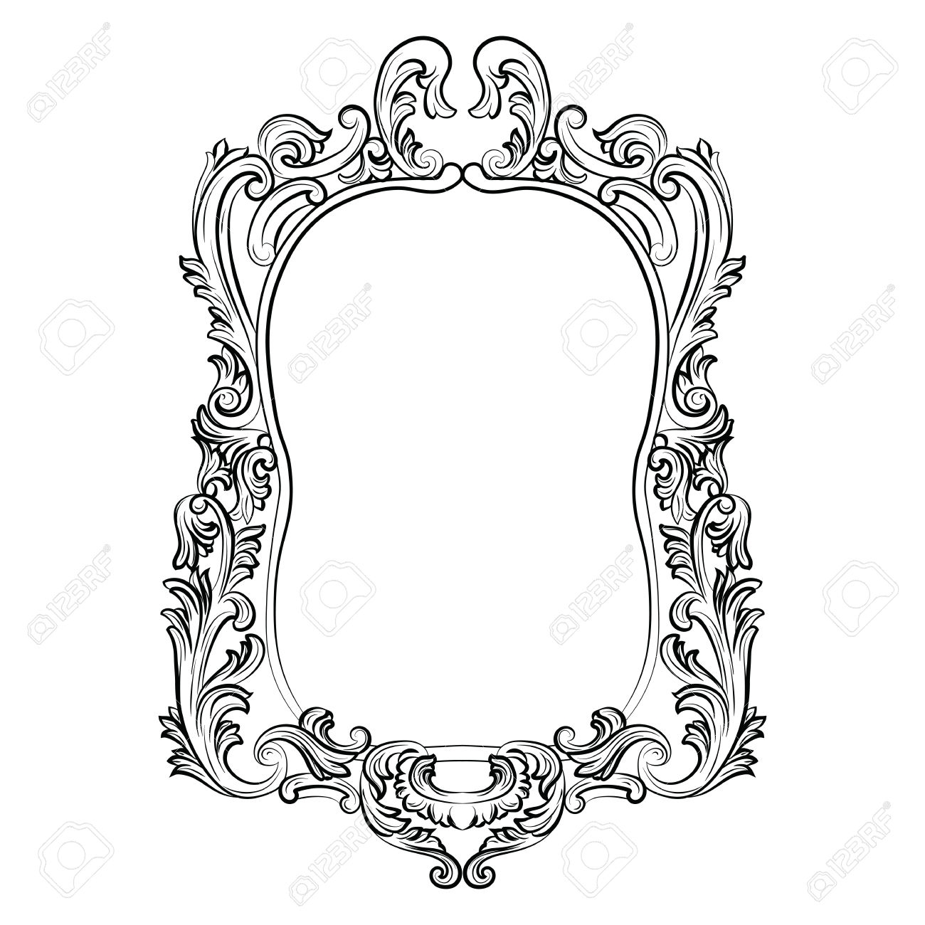 Baroque Rococo Mirror Frame Decor Vector Luxury Rich Carved Within Black Victorian Style Mirror (Image 1 of 15)