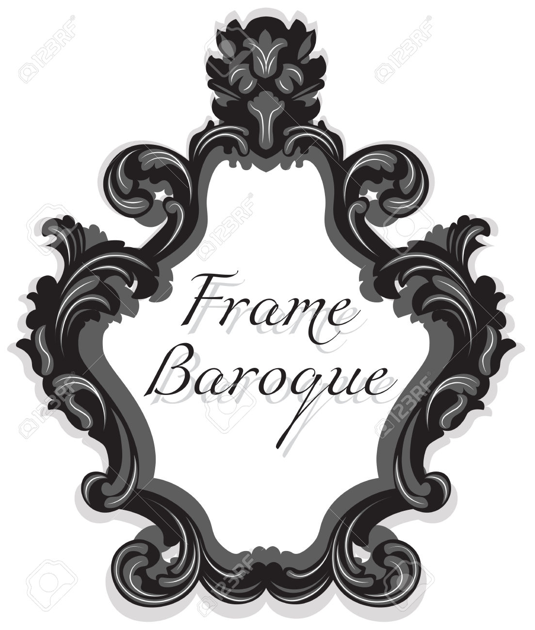 Baroque Rococo Mirror Frame Set Vector French Luxury Rich Carved For Black Rococo Mirror (Image 4 of 15)