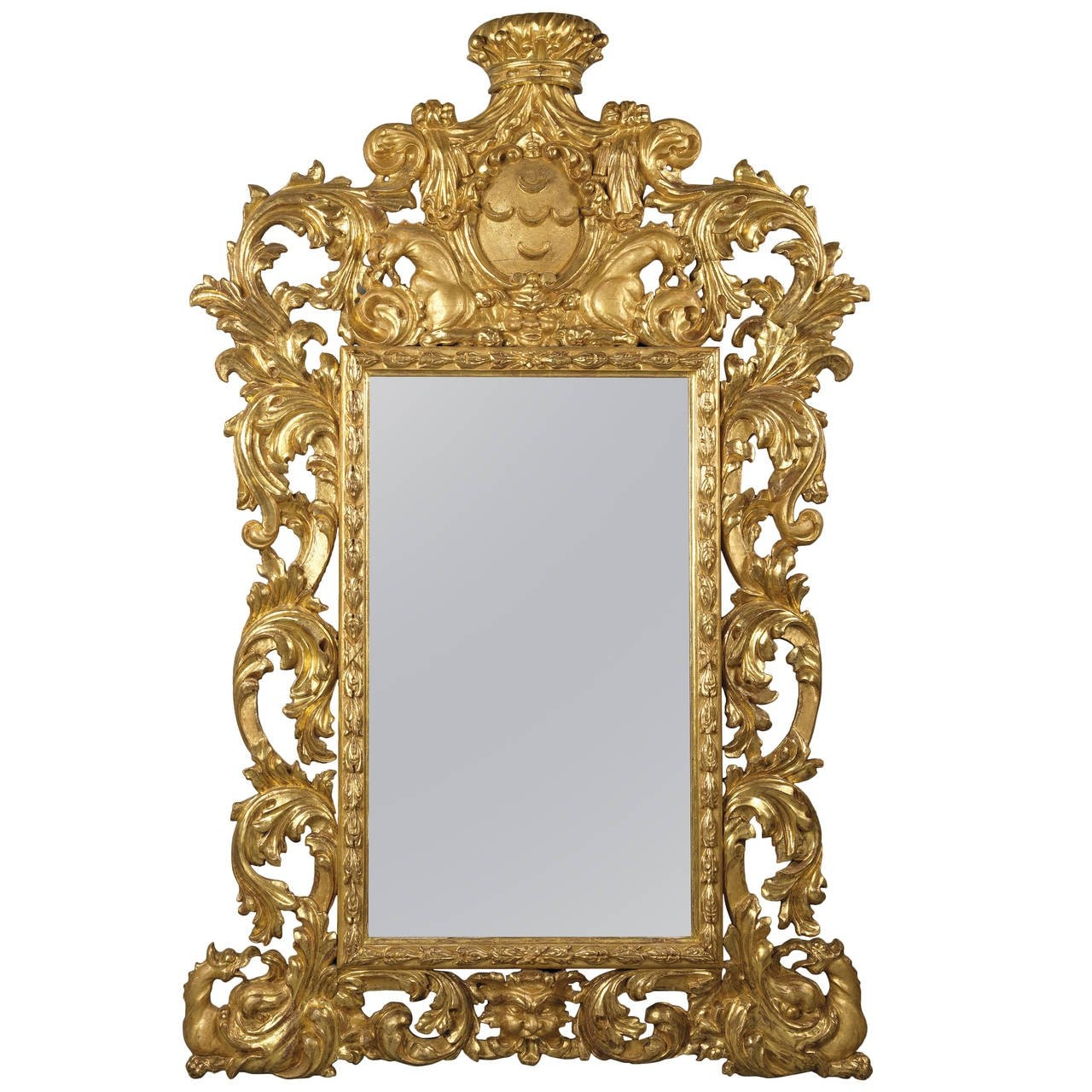 Baroque Style Carved Giltwood Mirror For Sale At 1stdibs In Baroque Style Mirror (Image 6 of 15)