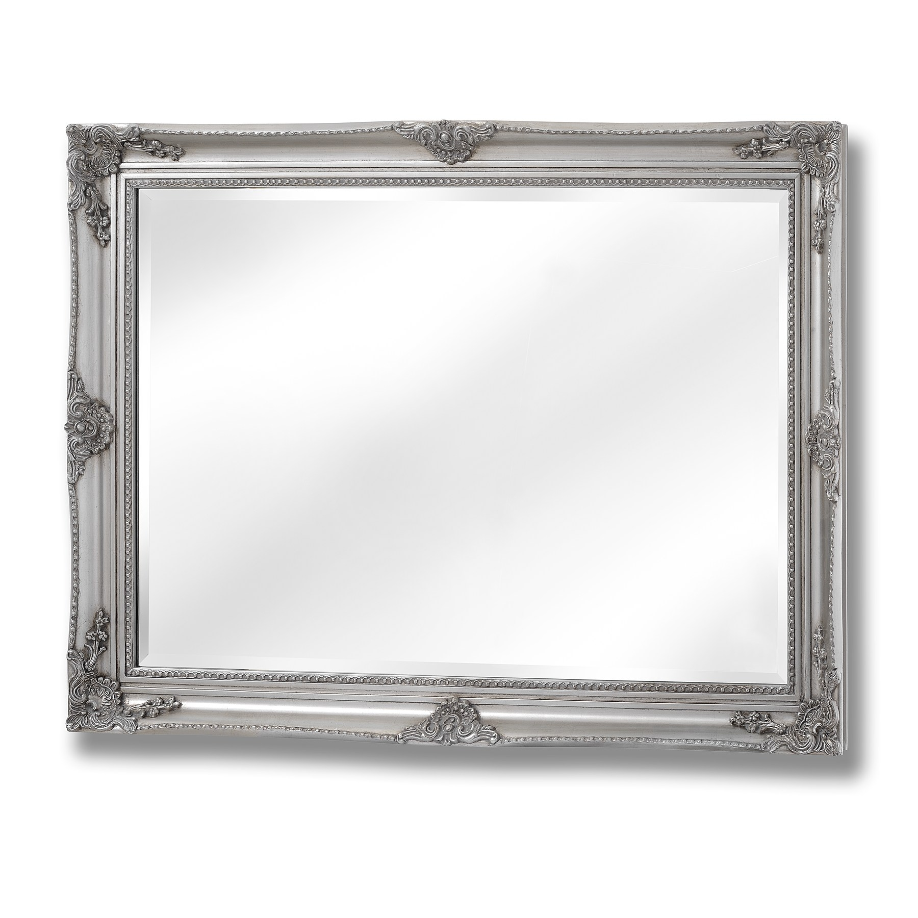 Baroque Style Large Silver Wall Mirror Happy Home Interiors Throughout Silver Baroque Mirror (Image 3 of 15)