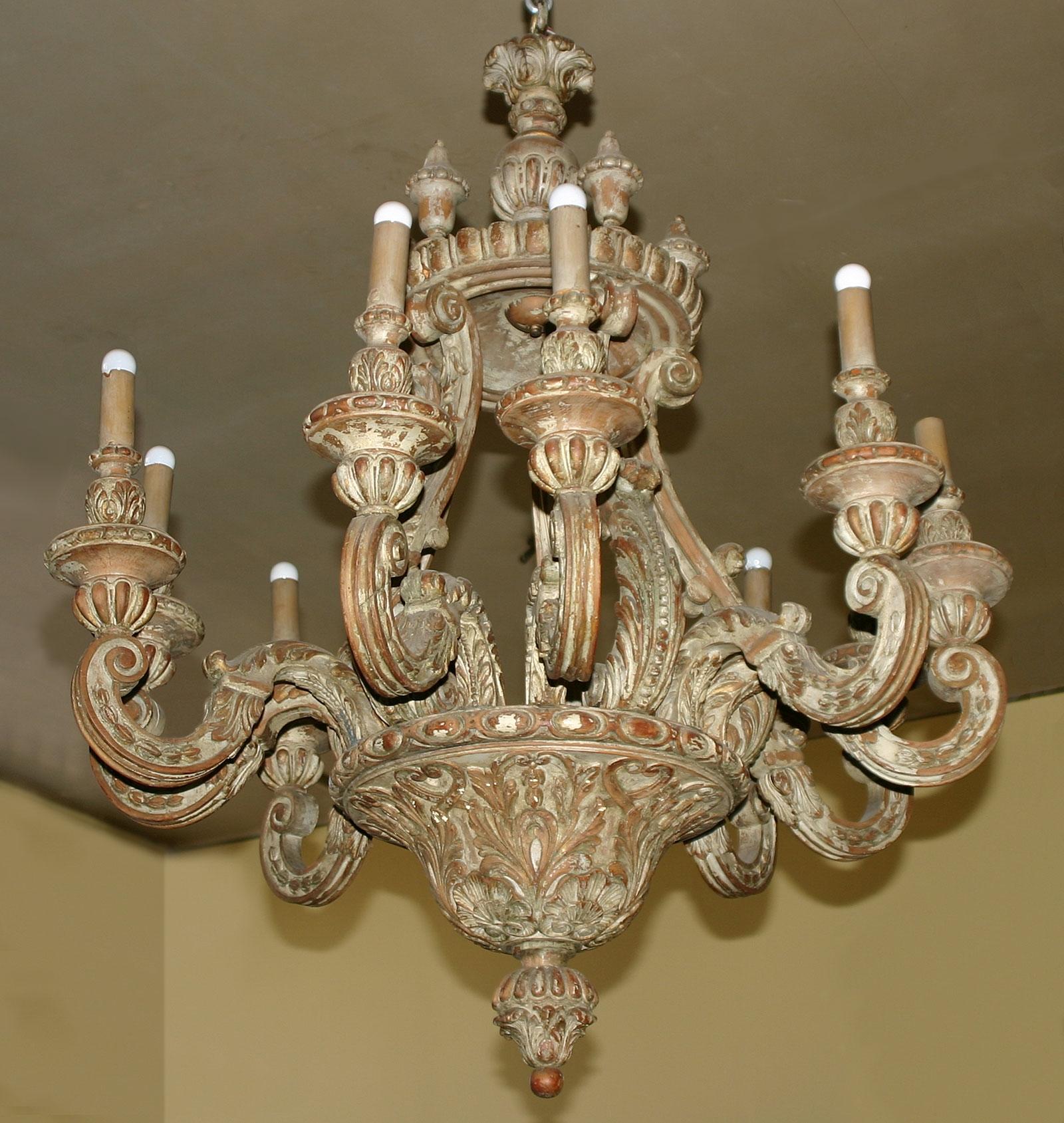 Baroque Style Painted Pine Ten Light Chandelier In Italian Chandelier Style (Image 4 of 15)