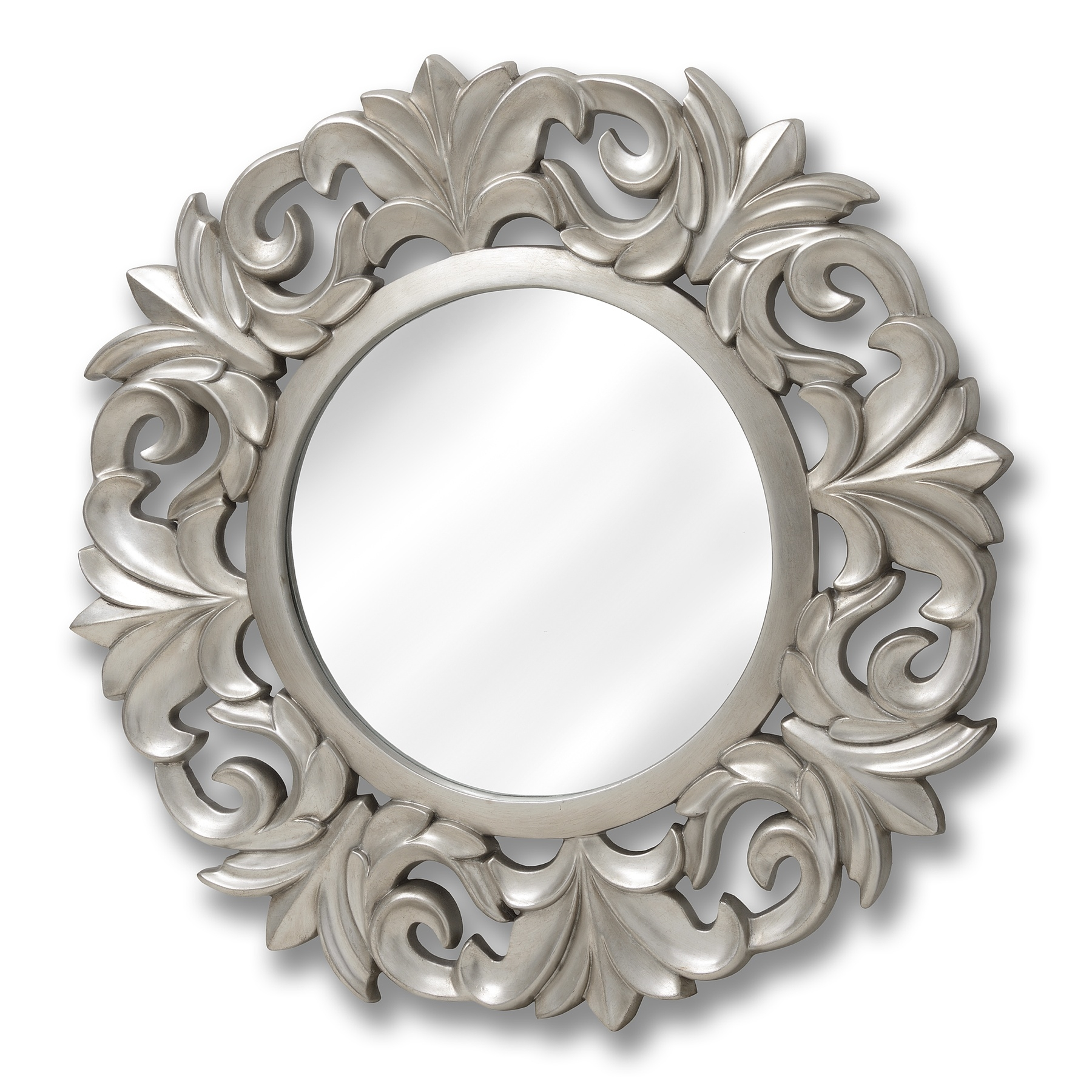 Baroque Style Round Silver Mirror Happy Home Interiors Intended For Round Silver Mirror (Image 1 of 15)