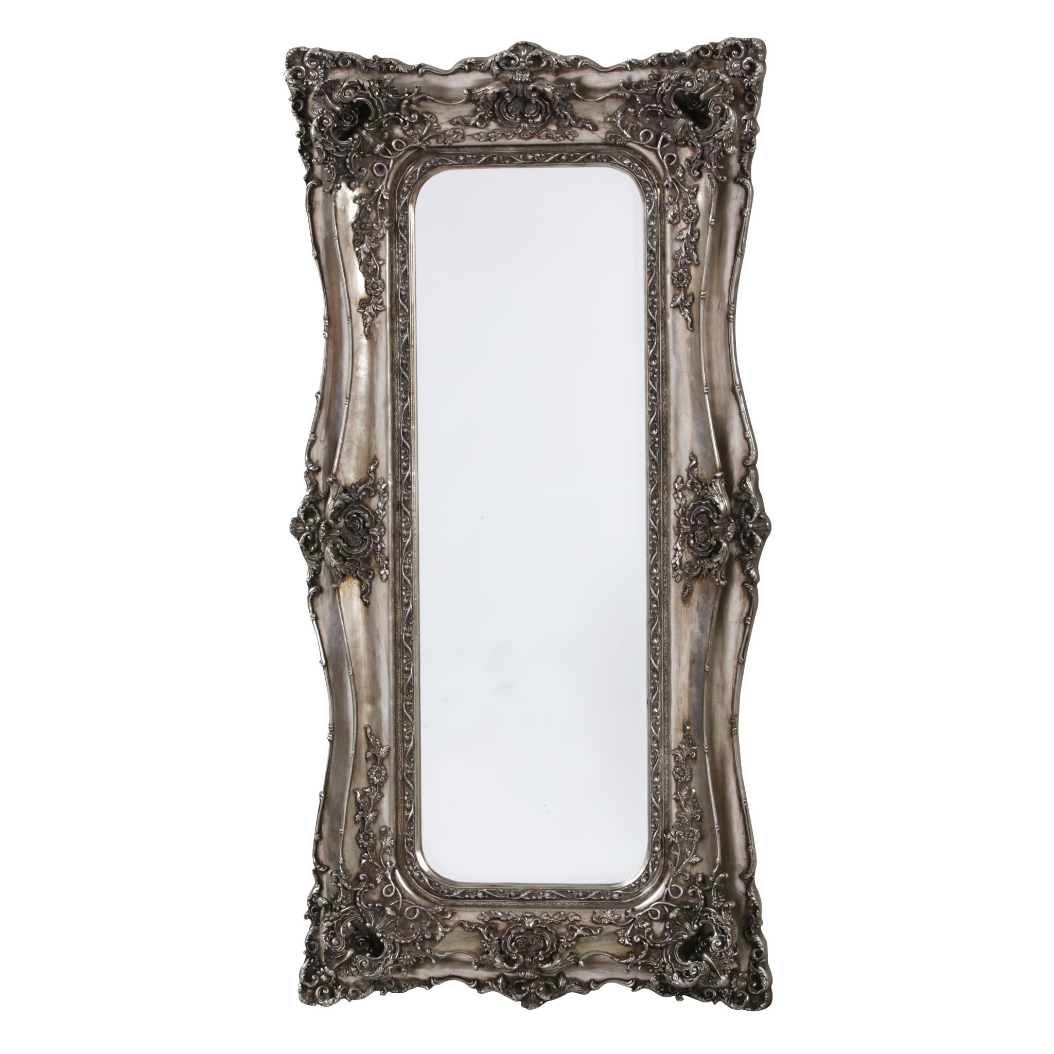 Baroque Tall Silver French Mirror With Silver Baroque Mirror (Image 5 of 15)