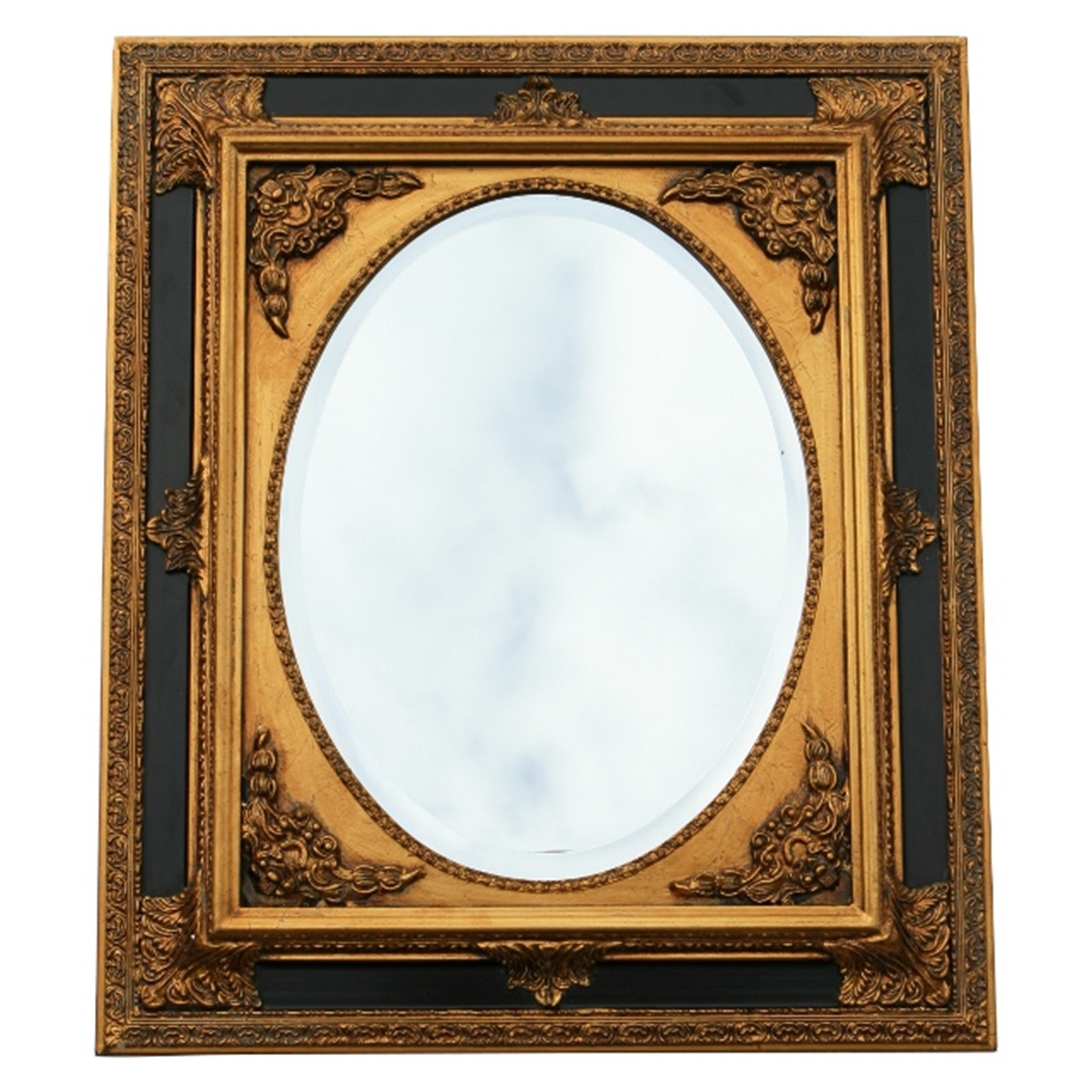 Baroque Wall Mirror Oval Ornate Frame 50×60 20×24 Inches Antique Throughout Baroque Mirror Black (Image 5 of 15)