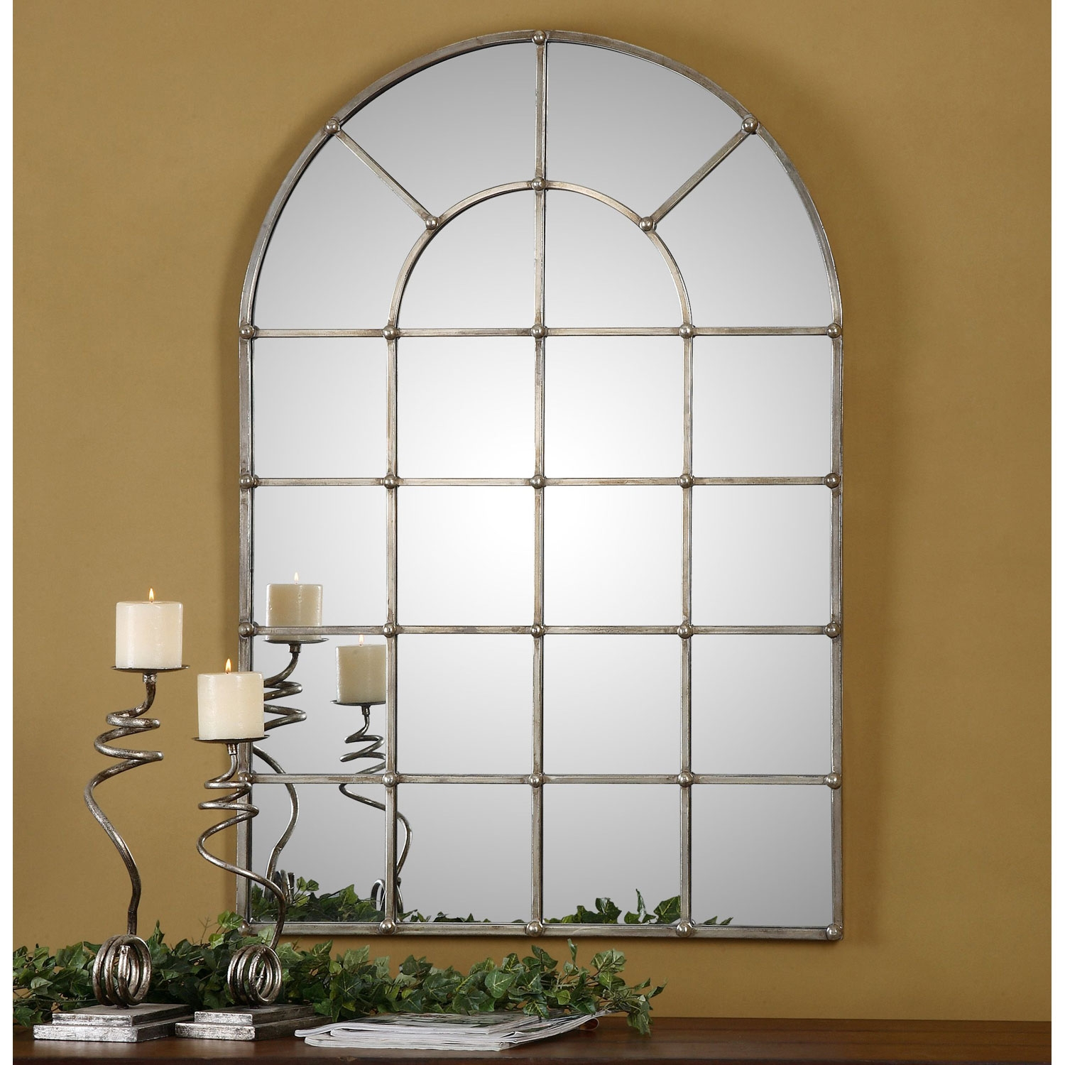 Barwell Forged Metal With Oxidized Plated Silver Arch Window With Regard To Window Arch Mirror (Image 9 of 15)