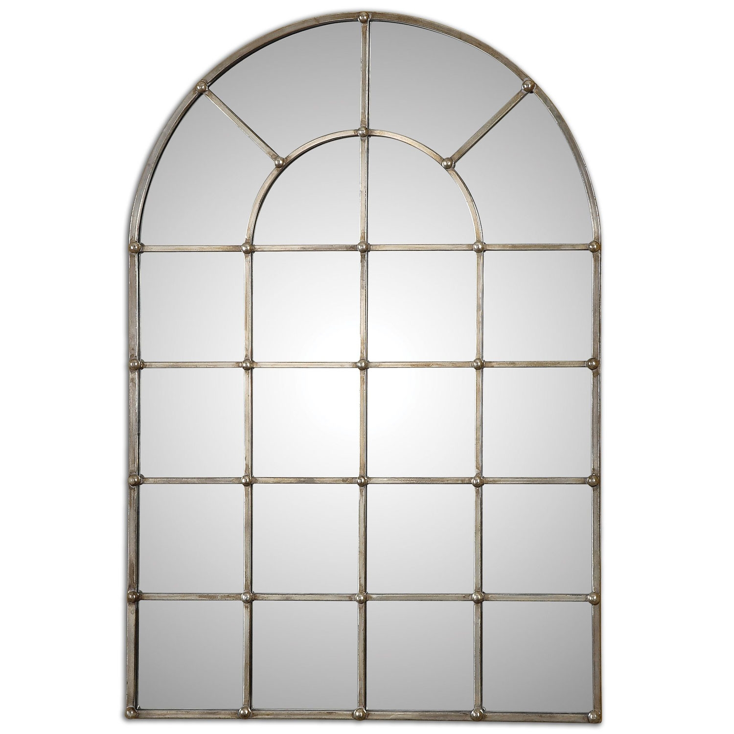 Barwell Forged Metal With Oxidized Plated Silver Arch Window With White Arched Window Mirror (Image 7 of 15)