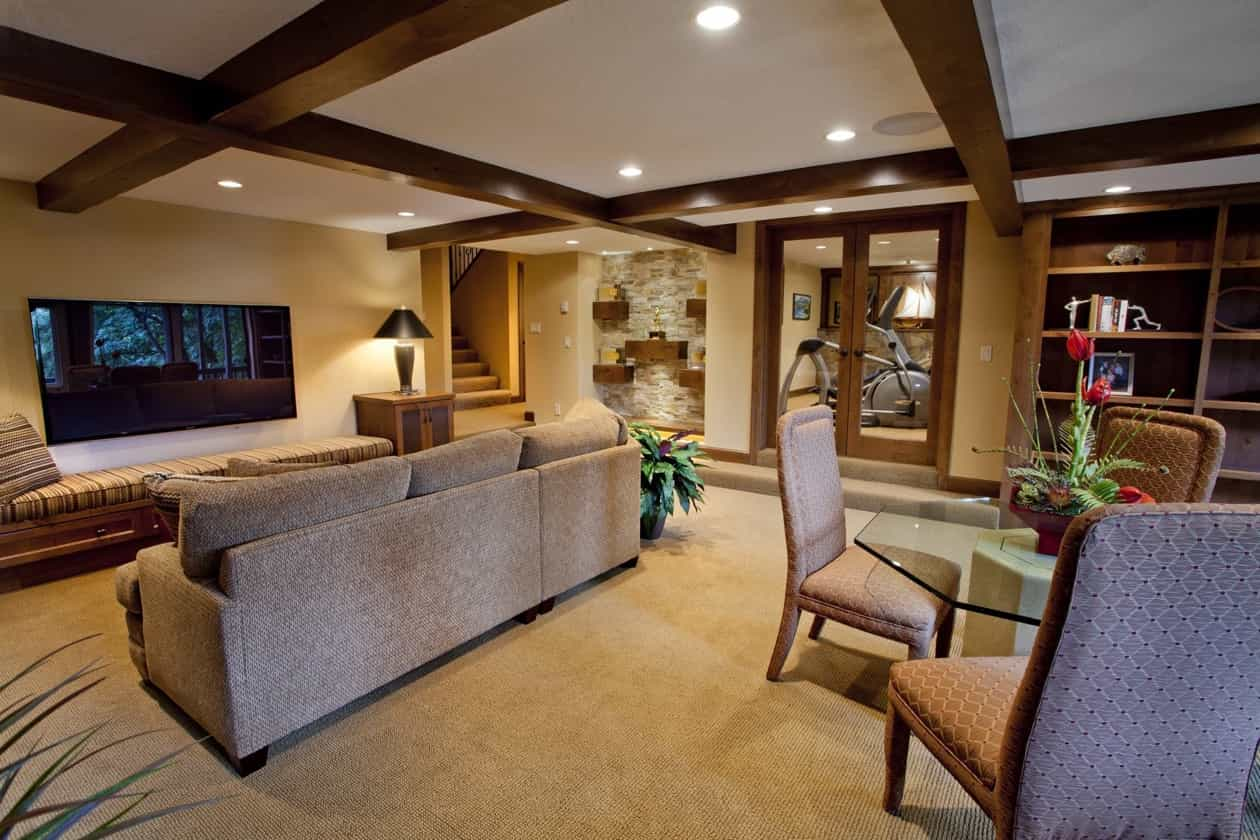 Featured Image of Basement Living Area With Craftsman Exposed Ceiling Beams