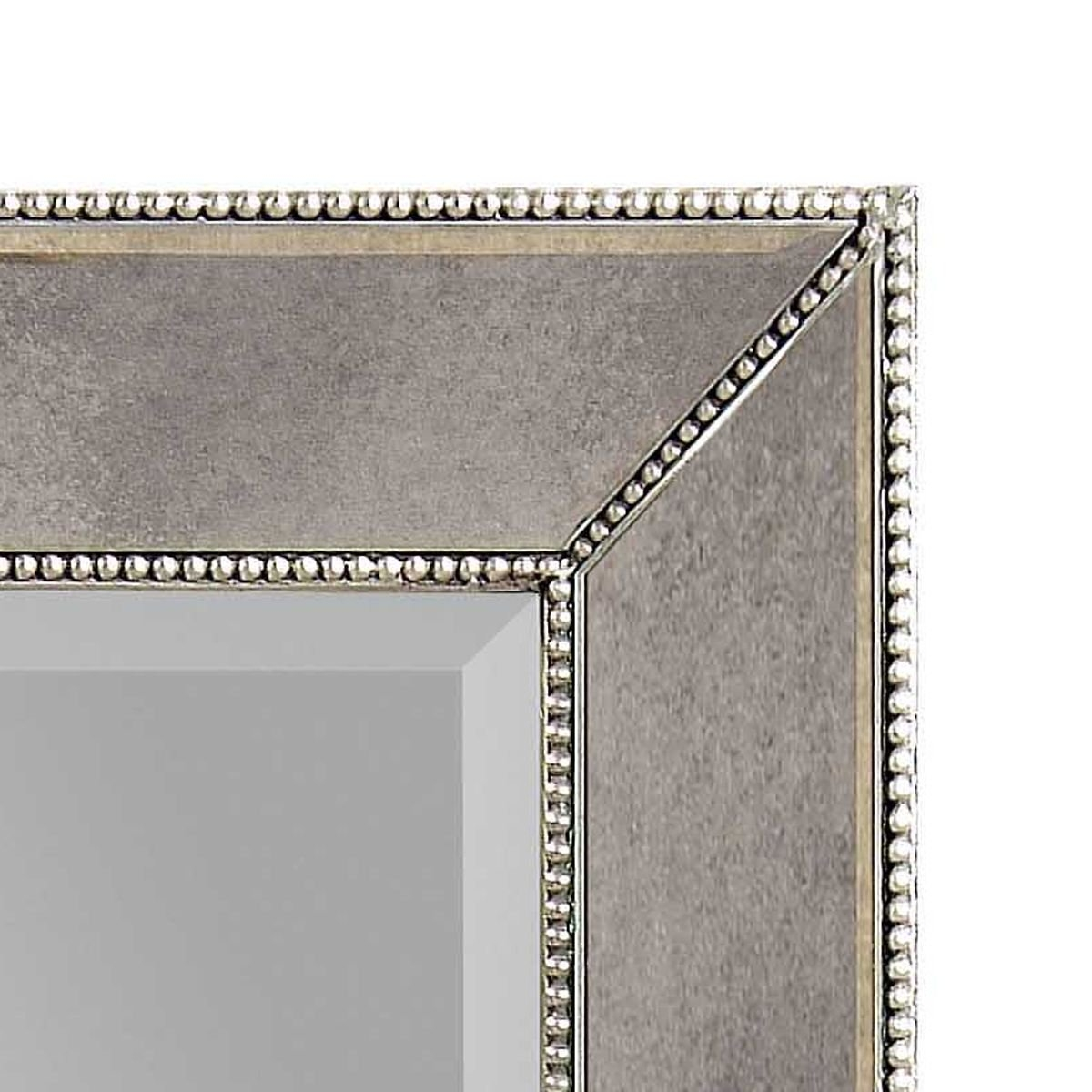 Bassett Mirror Murano Beaded Rectangular Wall Mirror In Silver Pertaining To Rectangular Silver Mirror (Image 1 of 15)