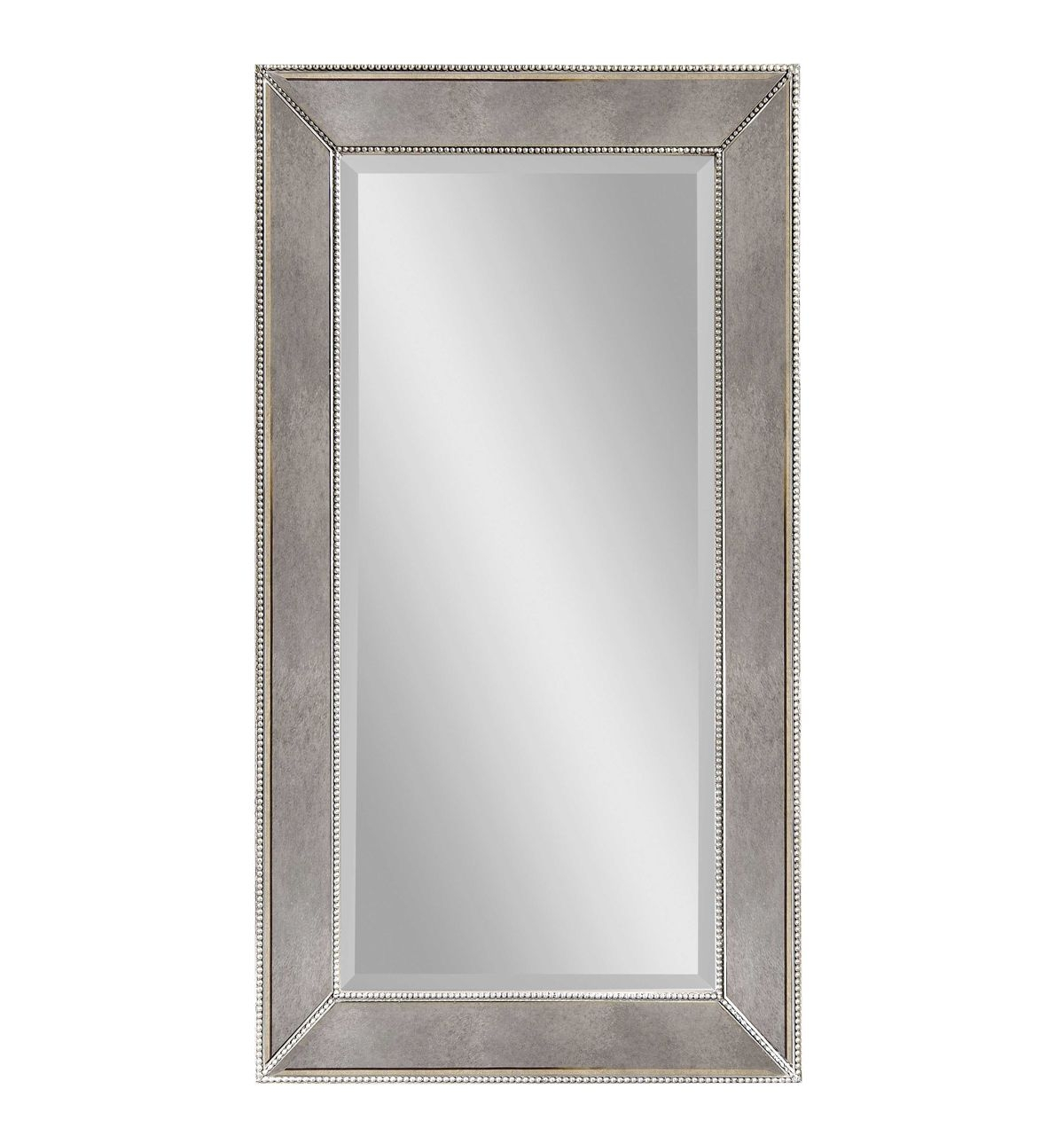 Bassett Mirror Murano Beaded Rectangular Wall Mirror In Silver With Silver Rectangular Mirror (Image 2 of 15)