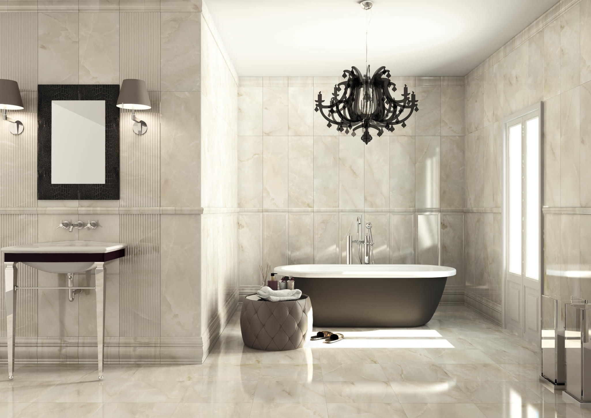 Bath With Glass Chandelier And Pedestal Tub Traditional With Regard To Bathroom Chandeliers (Image 9 of 15)