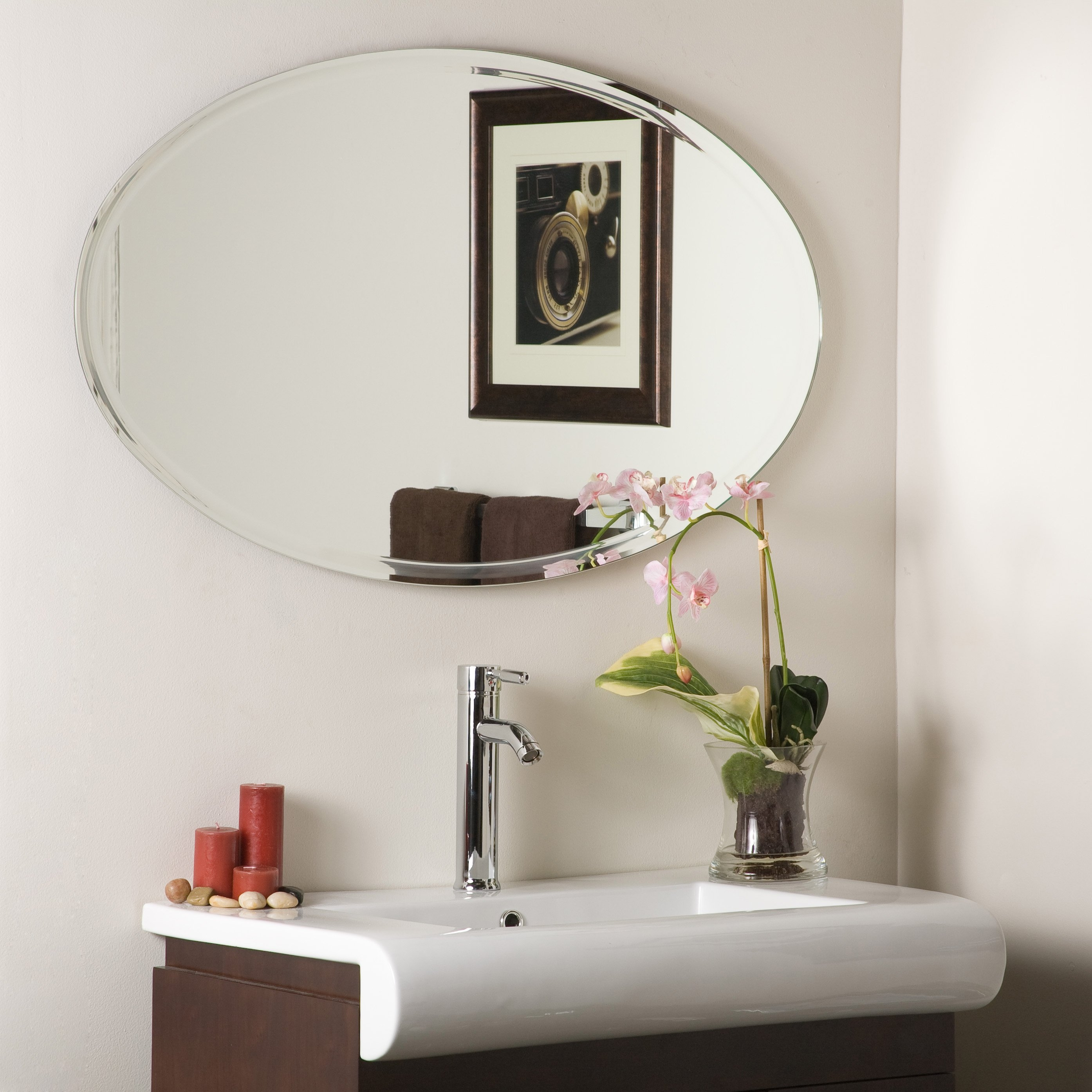 Bathroom Bronze Framed Mirror Oval Mirrors For Bathroom Oval Inside Large Oval Wall Mirror (Image 3 of 14)