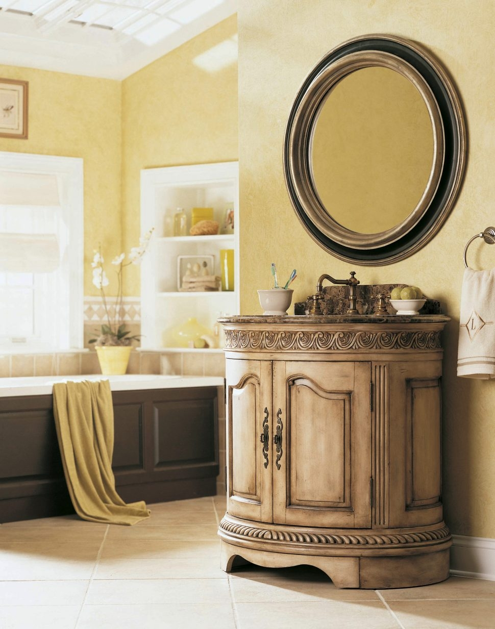 Bathroom Design Hooker Bathroom Furniture Pictures Shab Chic With Round Shabby Chic Mirror (Image 3 of 15)