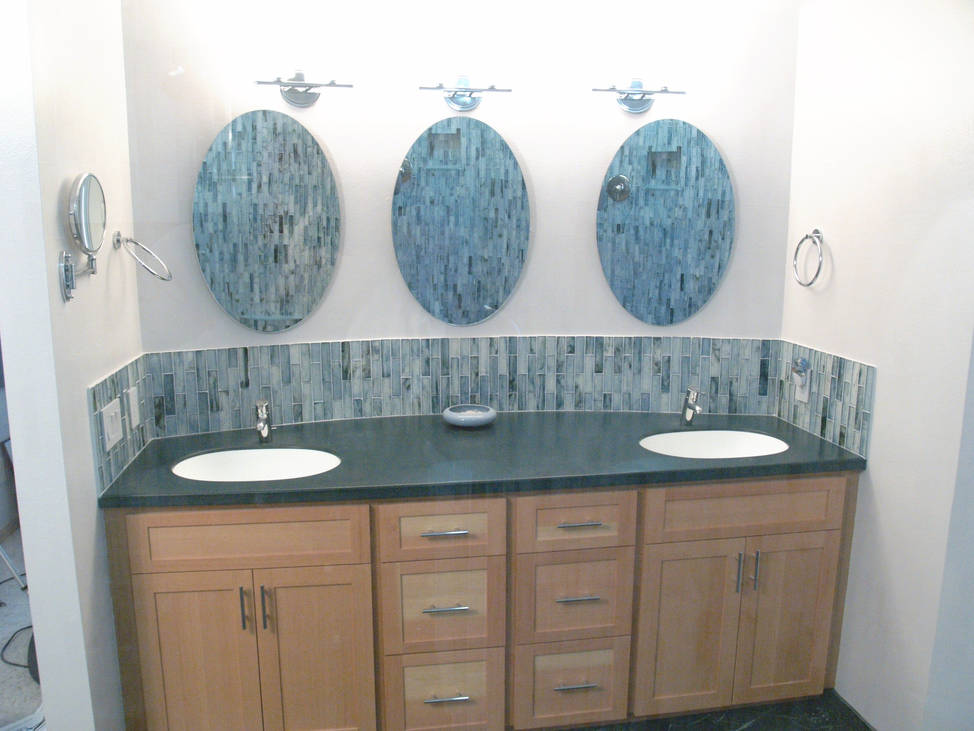 Bathroom Elegant Bathroom Decor With Large Framed Bathroom Intended For Triple Oval Wall Mirror (Image 2 of 15)