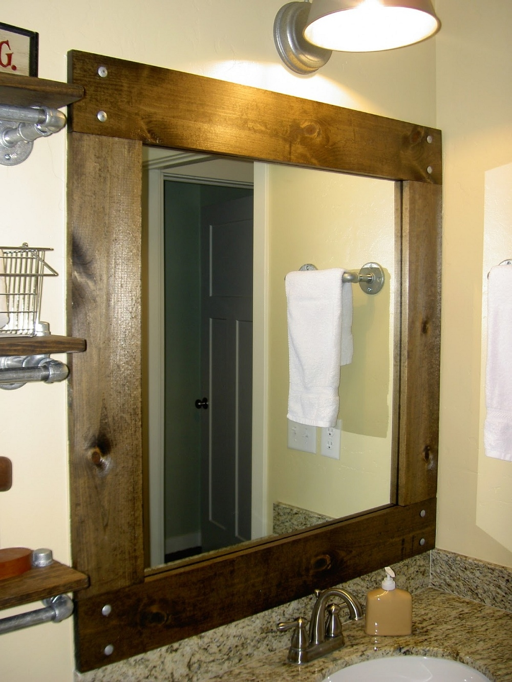 Bathroom Elegant Bathroom Decor With Large Framed Bathroom Pertaining To Oak Framed Wall Mirrors (Image 1 of 15)