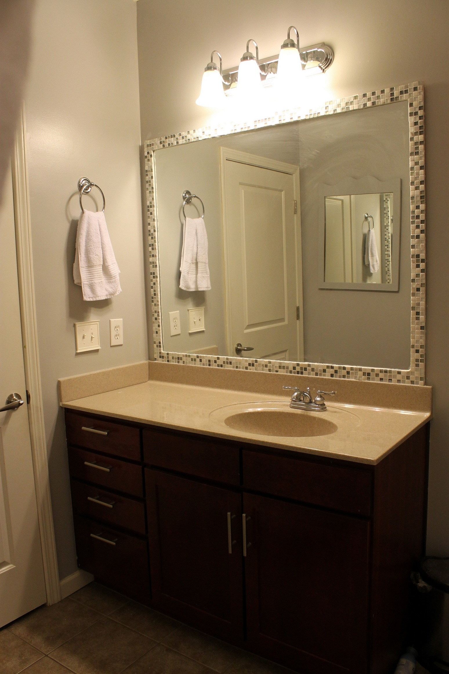 Bathroom Elegant Bathroom Decor With Large Framed Bathroom With Large Frameless Bathroom Mirror (View 8 of 15)