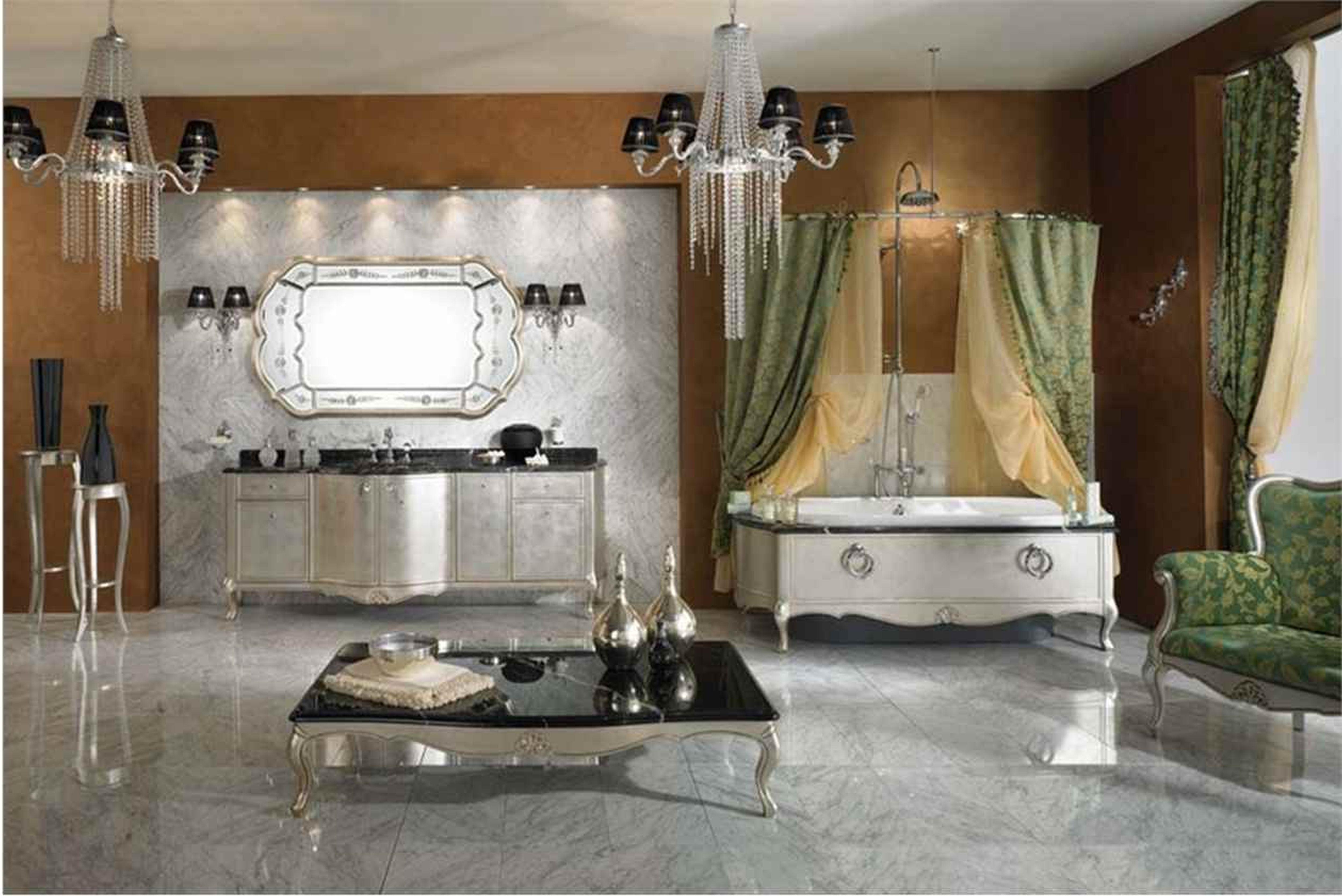 Bathroom Extraordinary Modern Country Bathroom Idea With Classic Regarding Crystal Bathroom Chandelier (Image 9 of 15)
