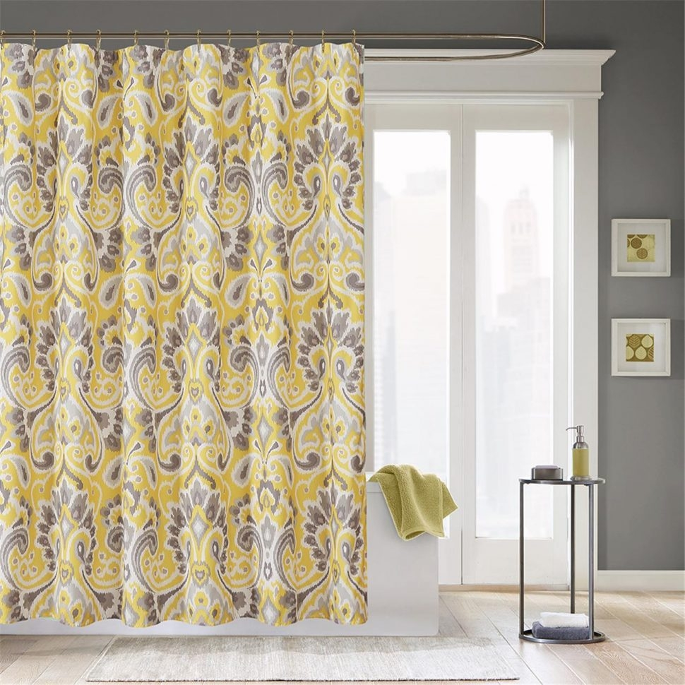 Bathroom Gorgeous Small Bathroom Remodeling Ideas With White And With Quirky Curtains (Image 5 of 15)