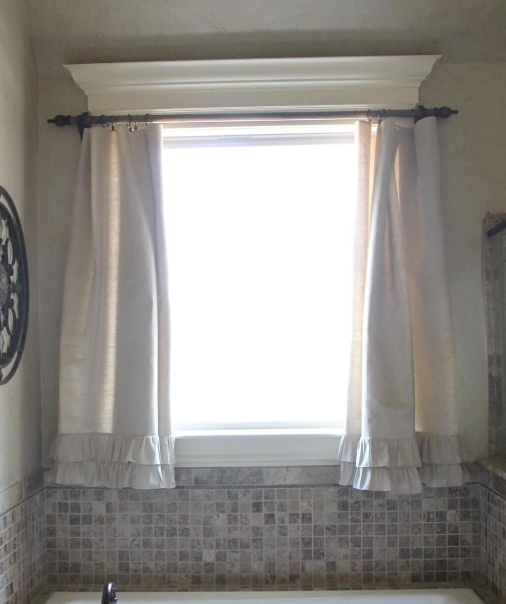 Bathroom Lace Bathroom Window Curtain Photo Tricks In Intended For Curtains For Bathrooms Windows (Image 2 of 15)