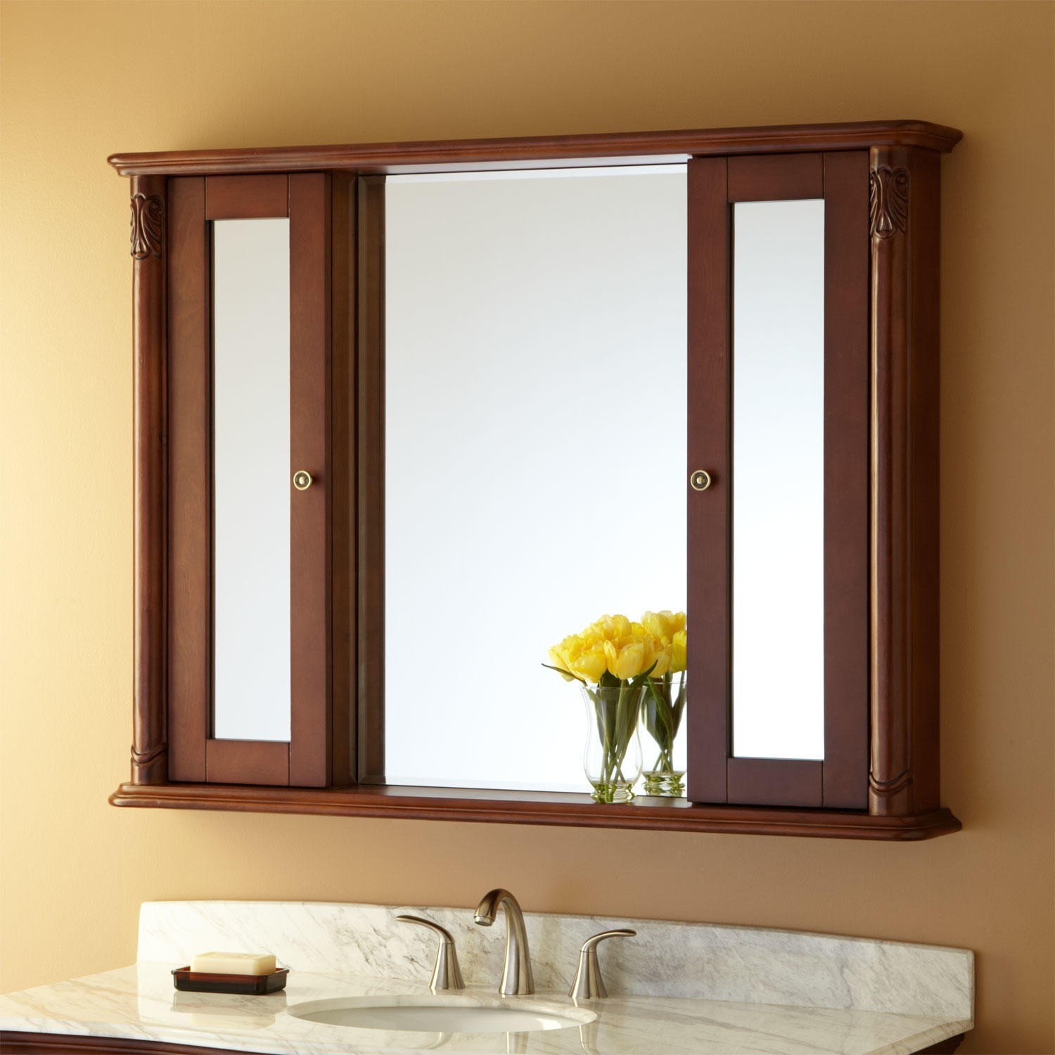 Bathroom Large Wood Wall Mounted Bathroom Medicine Cabinet With With Large Brown Mirror (View 13 of 15)
