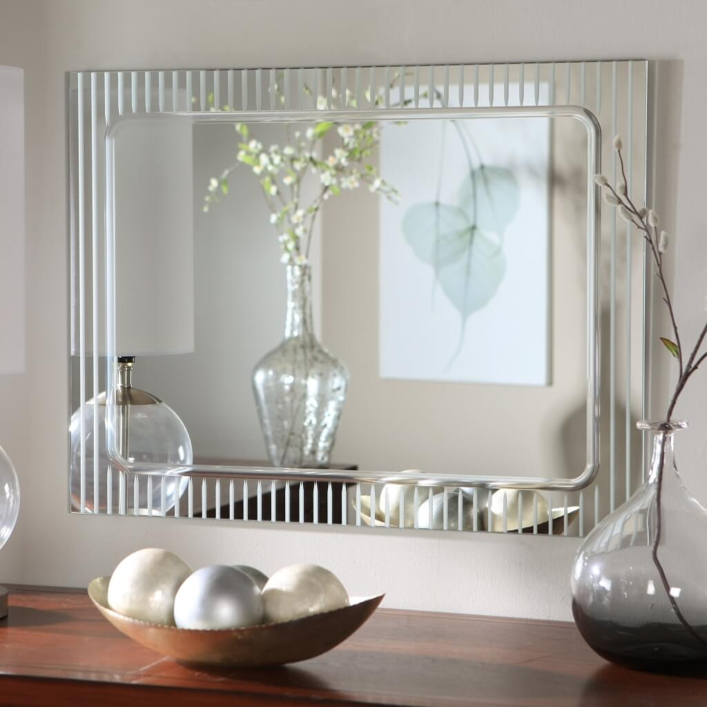 Bathroom Marvelous Wall Bathroom Mirror With Contemporary Wooden Throughout Wall Mirrors Contemporary (Image 2 of 15)