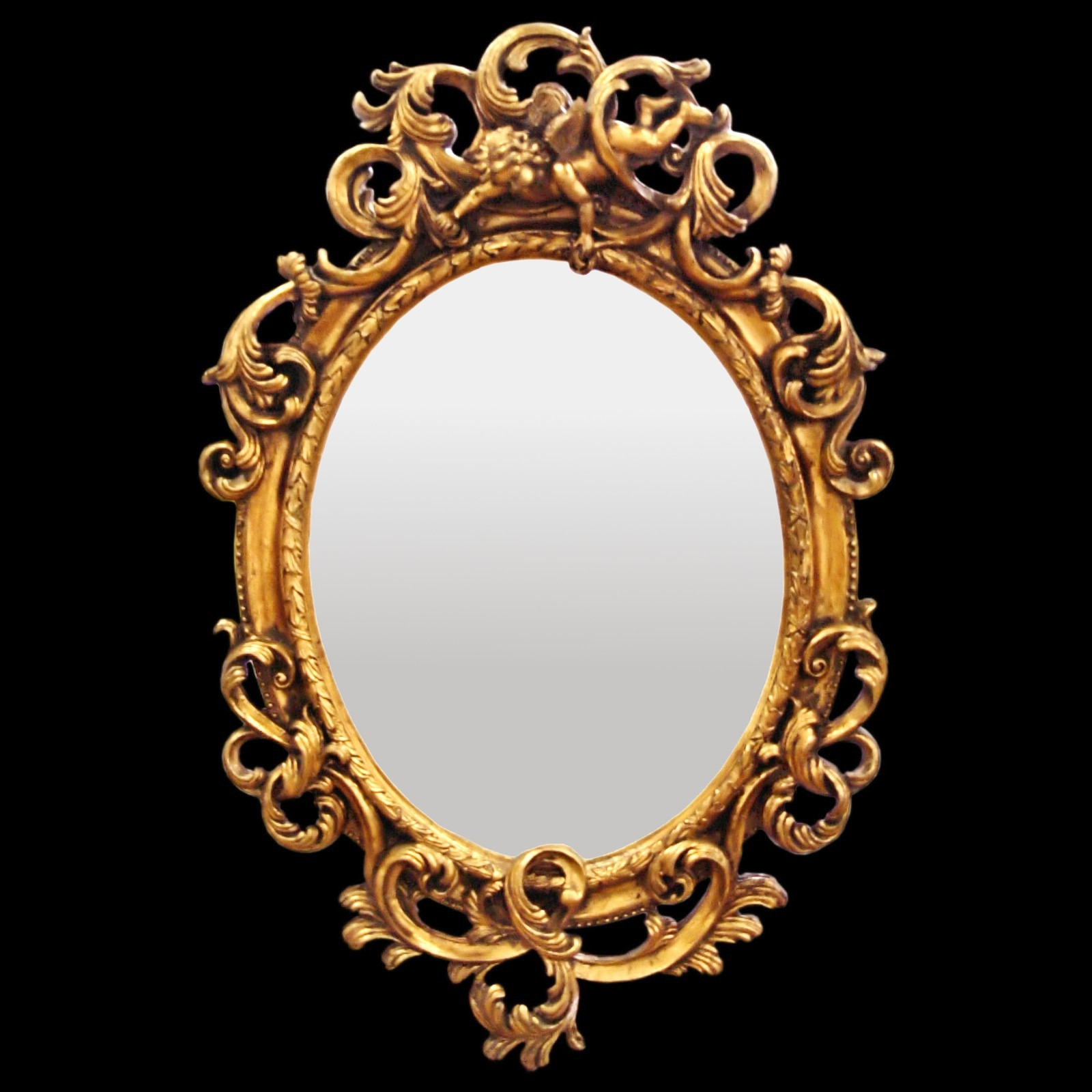 Bathroom Mirror Oval Wall Mirror Baroque De Luxe Gold Acanthus In Baroque Gold Mirror (Image 8 of 15)