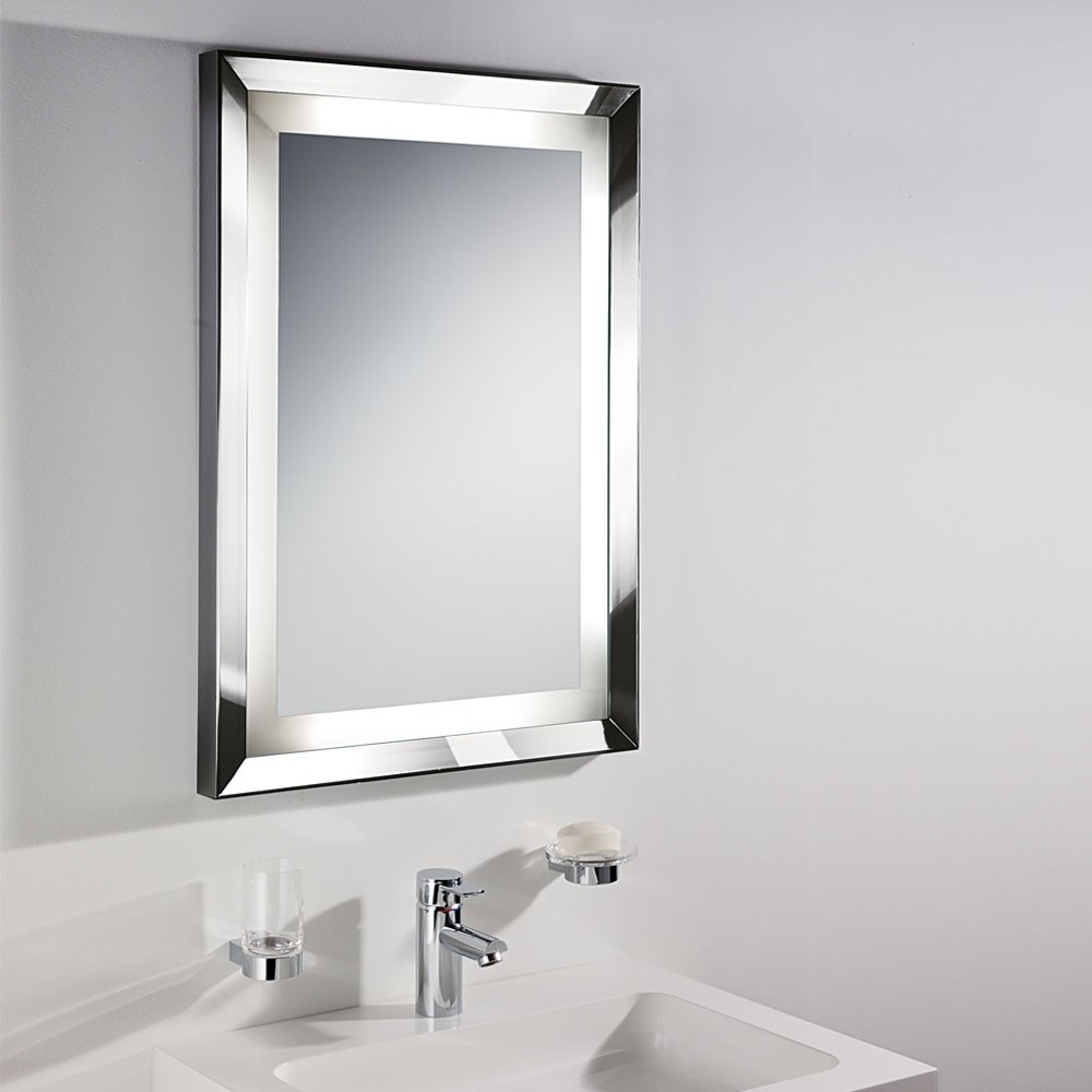 Bathroom Mirrors For Bathrooms In White Themed Bathroom With With Regard To Silver Bathroom Mirror Rectangular (Image 4 of 15)