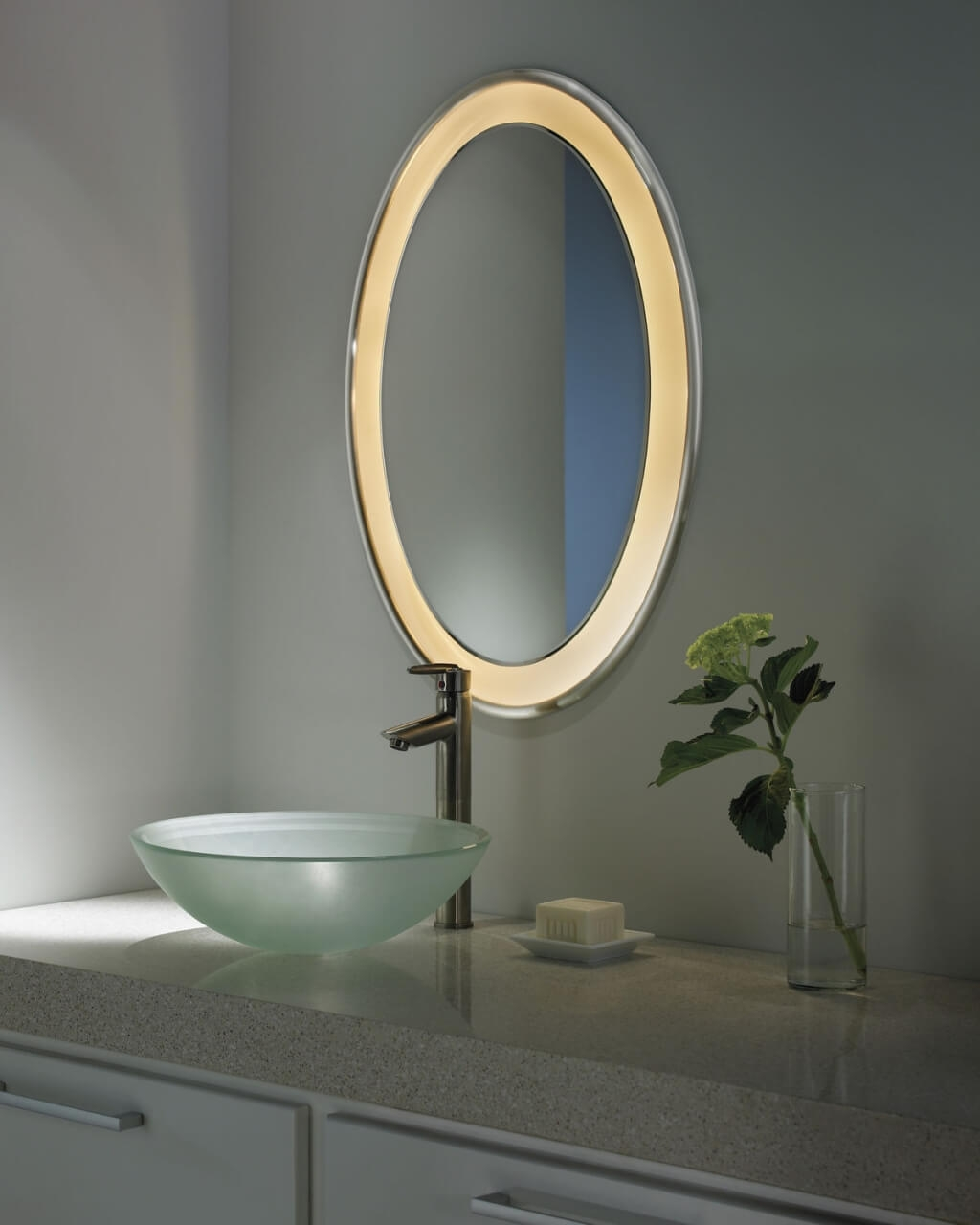 Bathroom Outstanding Oval Bathroom Mirror With Multisize Dots With Regard To White Oval Bathroom Mirror (Image 3 of 15)