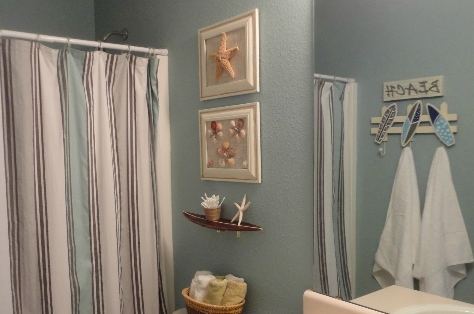 Bathroom Towel Hook And Beach Theme Ideas And Stripes Privacy With Regard To Curtain Head (Image 6 of 15)
