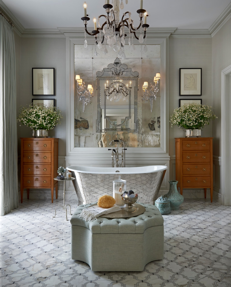 Bathroom Victorian Style French Country Bathroom With Sparkling Throughout Victorian Style Mirrors For Bathrooms (Image 4 of 15)