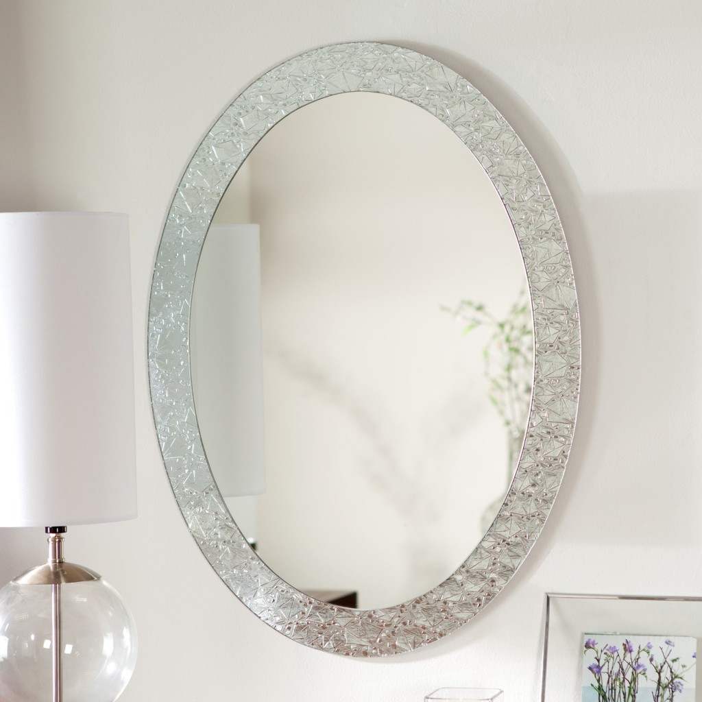 Bathroom Wall Mirror Oval Brushed Nickel Bathroom Mirror Full Intended For White Oval Bathroom Mirror (Image 4 of 15)
